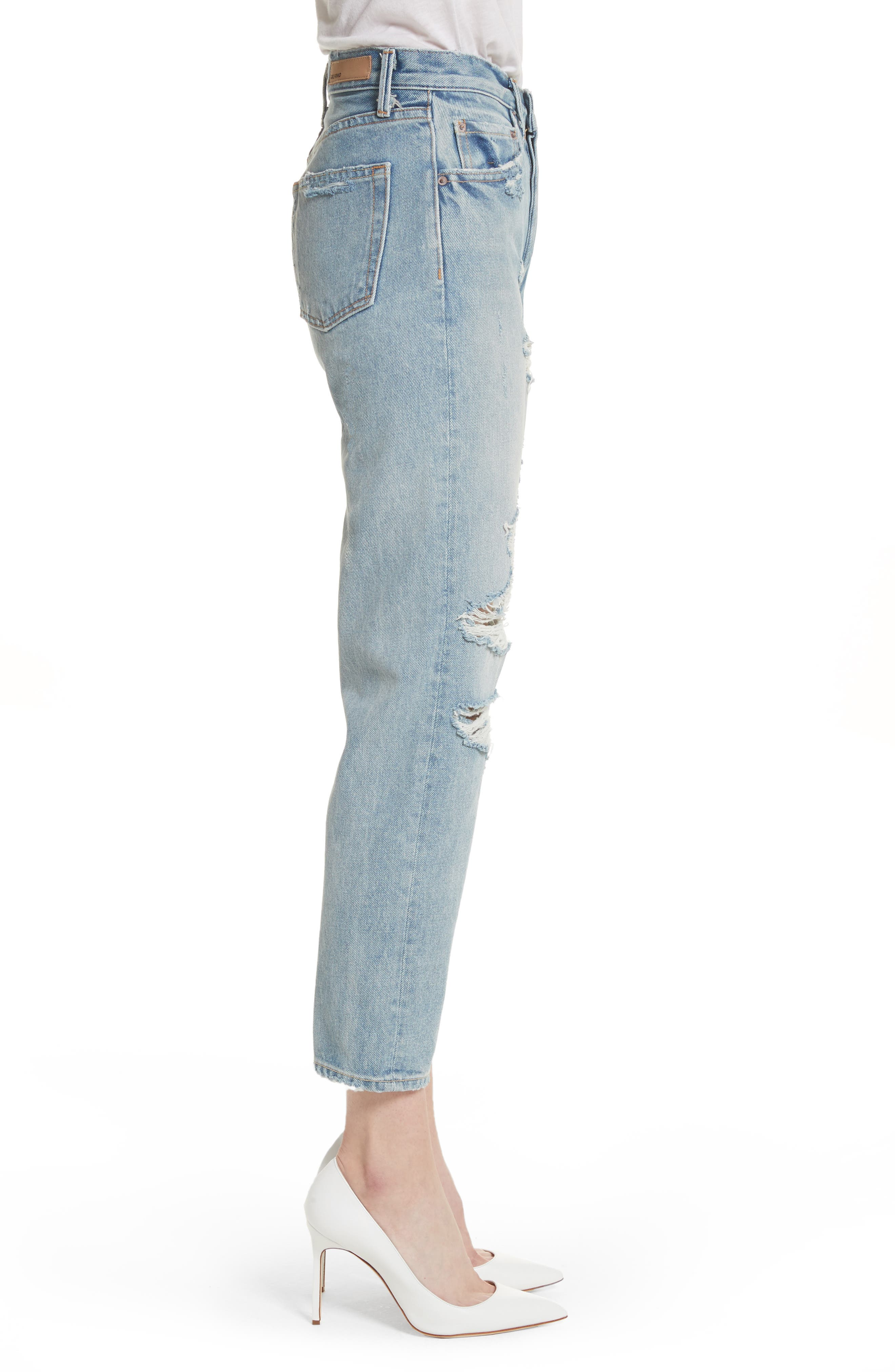 Helena Ripped Rigid High Waist Straight Jeans,                             Alternate thumbnail 3, color,                             491