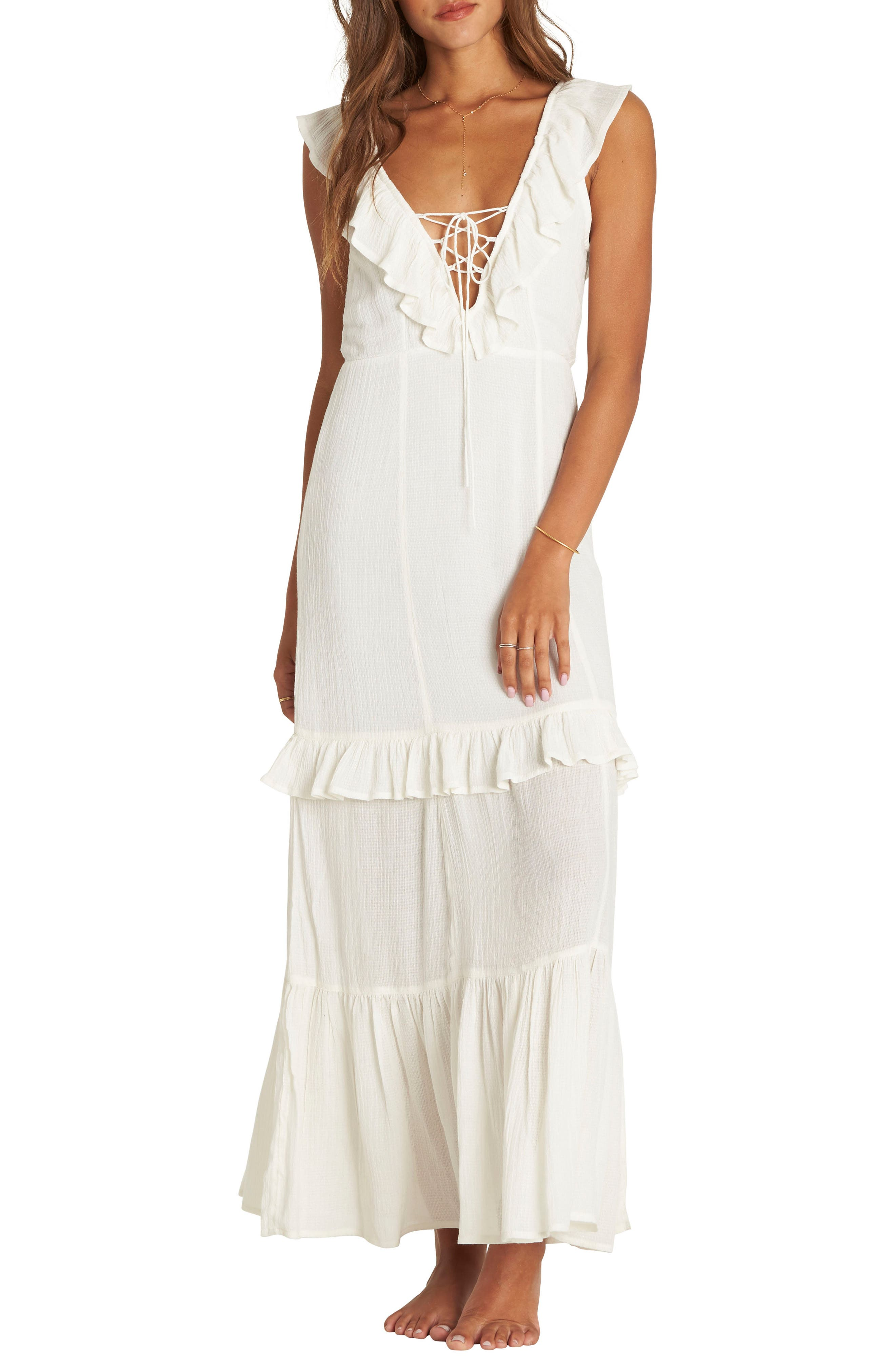 Romance Row Ruffle Tier Maxi Dress,                             Alternate thumbnail 3, color,                             COOL WIP