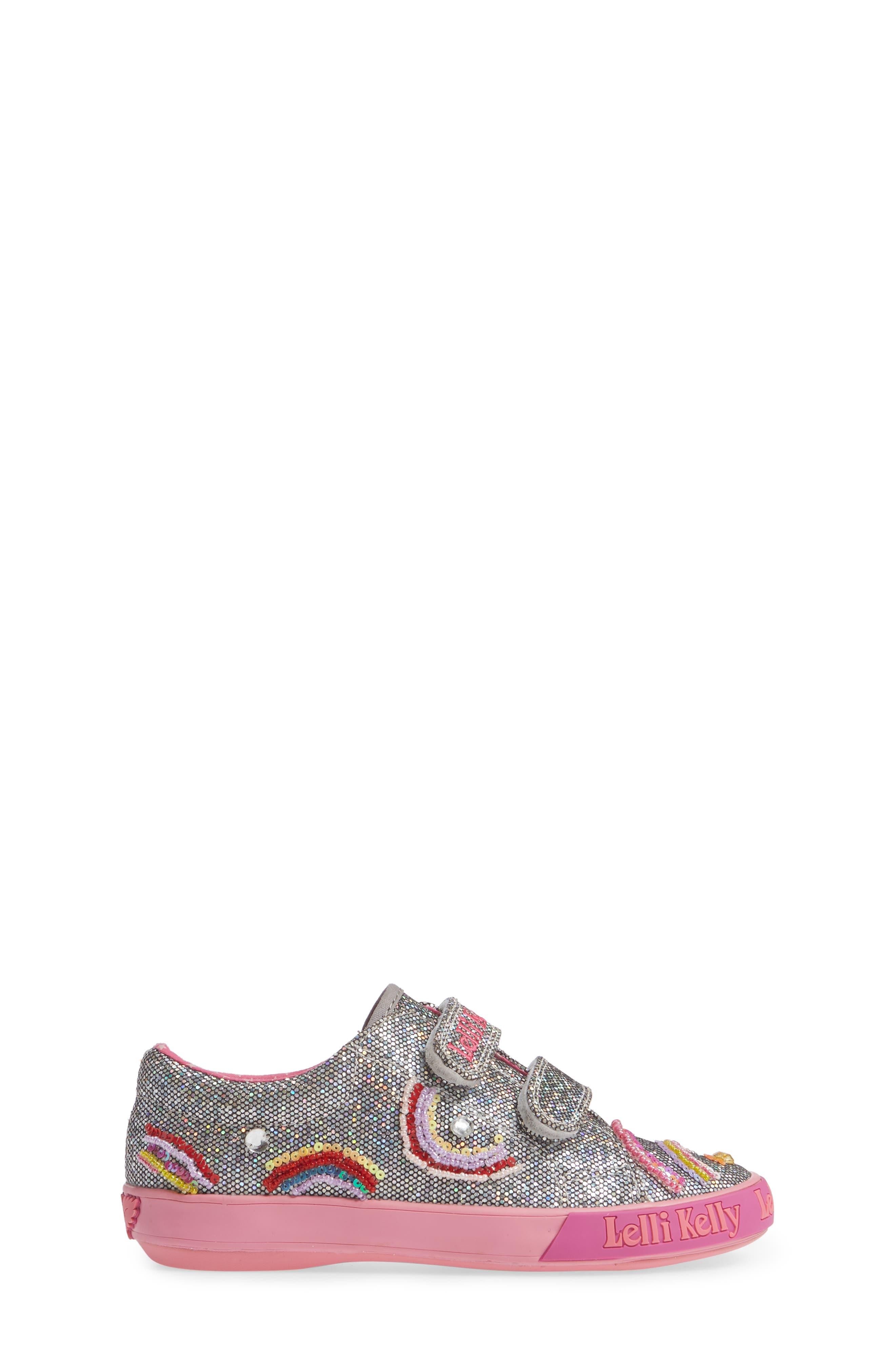 Beaded Sneaker,                             Alternate thumbnail 3, color,                             PEWTER