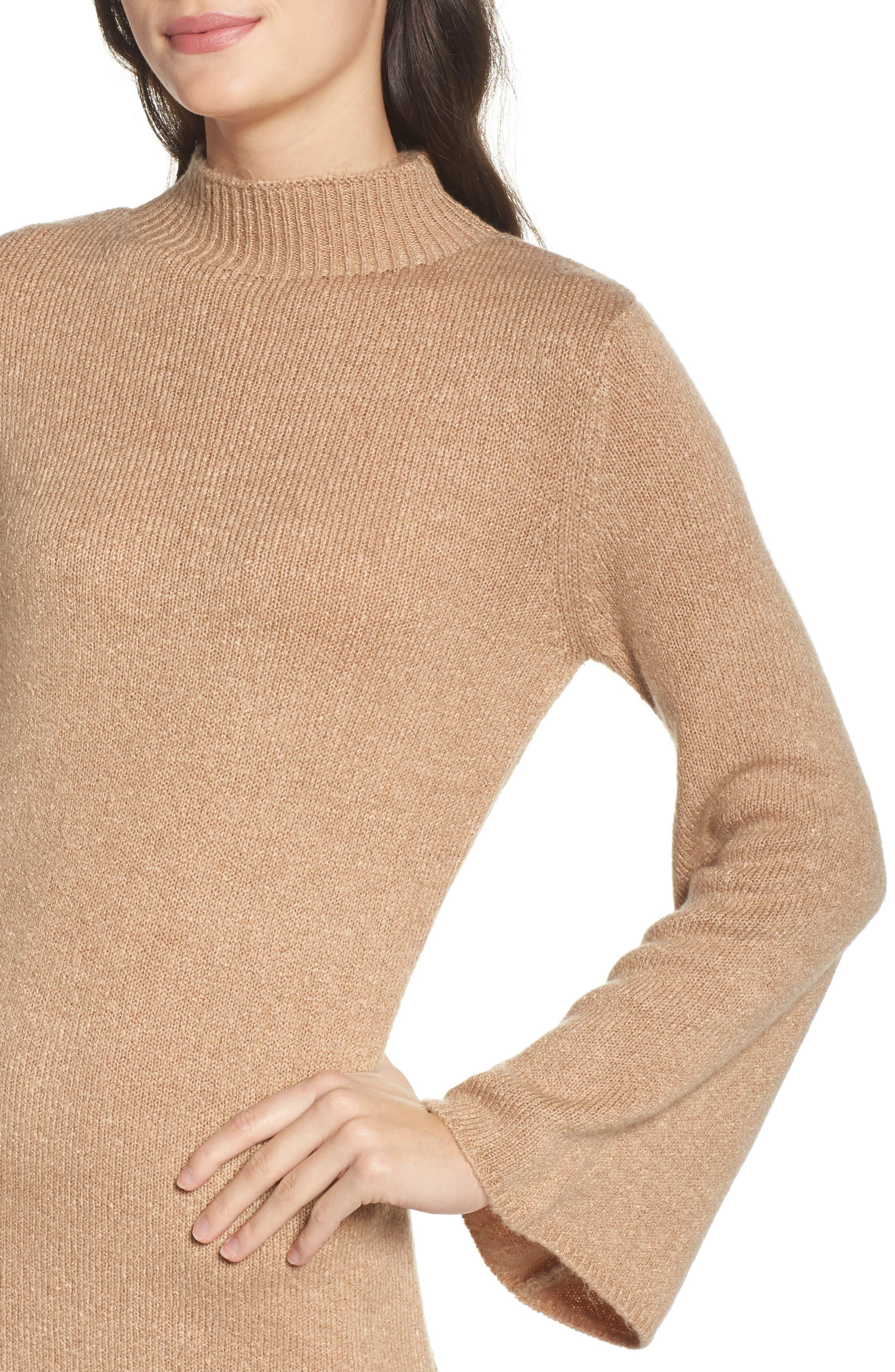 Bell Sleeve Knit Dress,                             Alternate thumbnail 4, color,                             208
