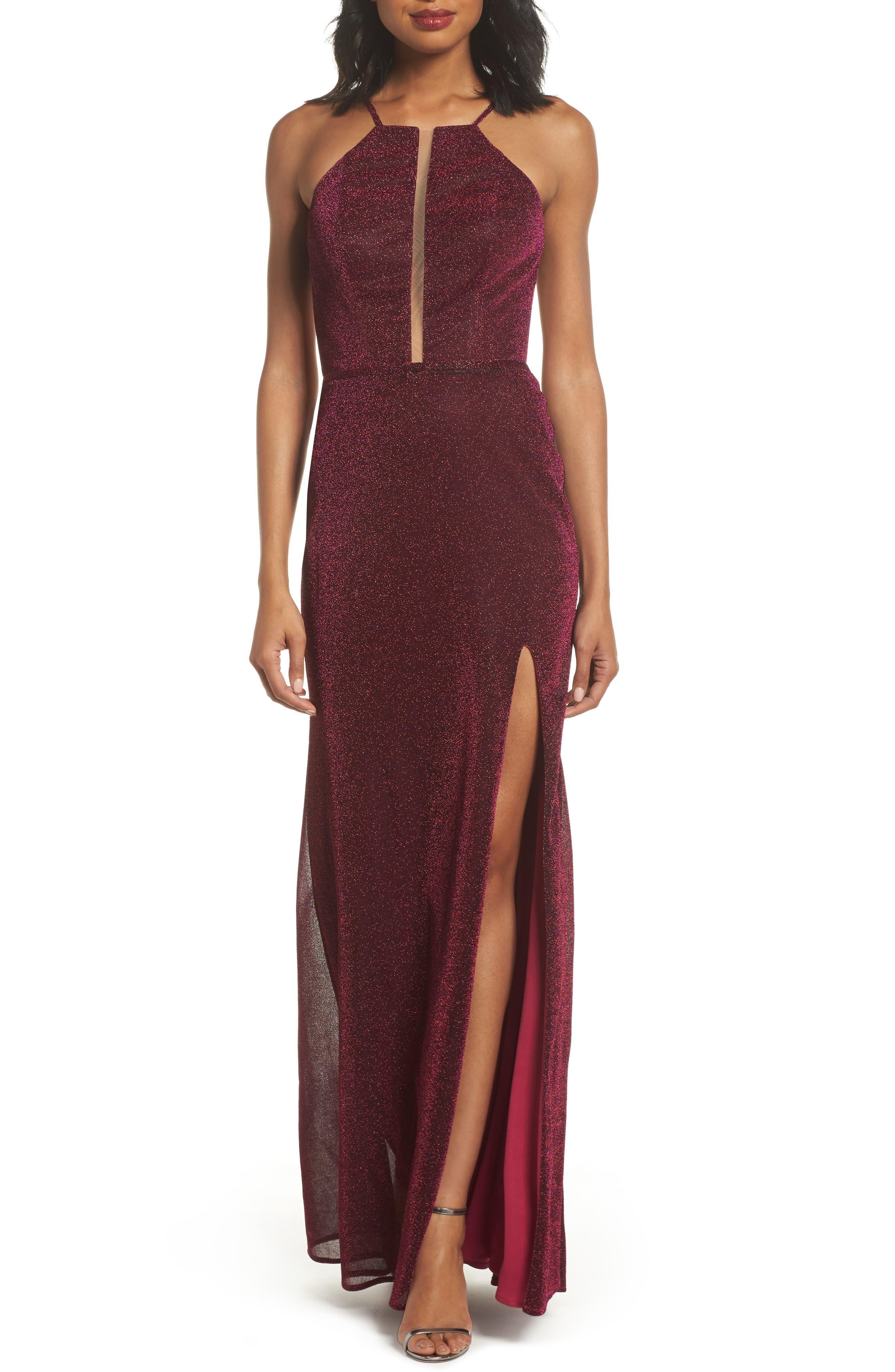 La Femme Sparkle Sheath Gown, Pink