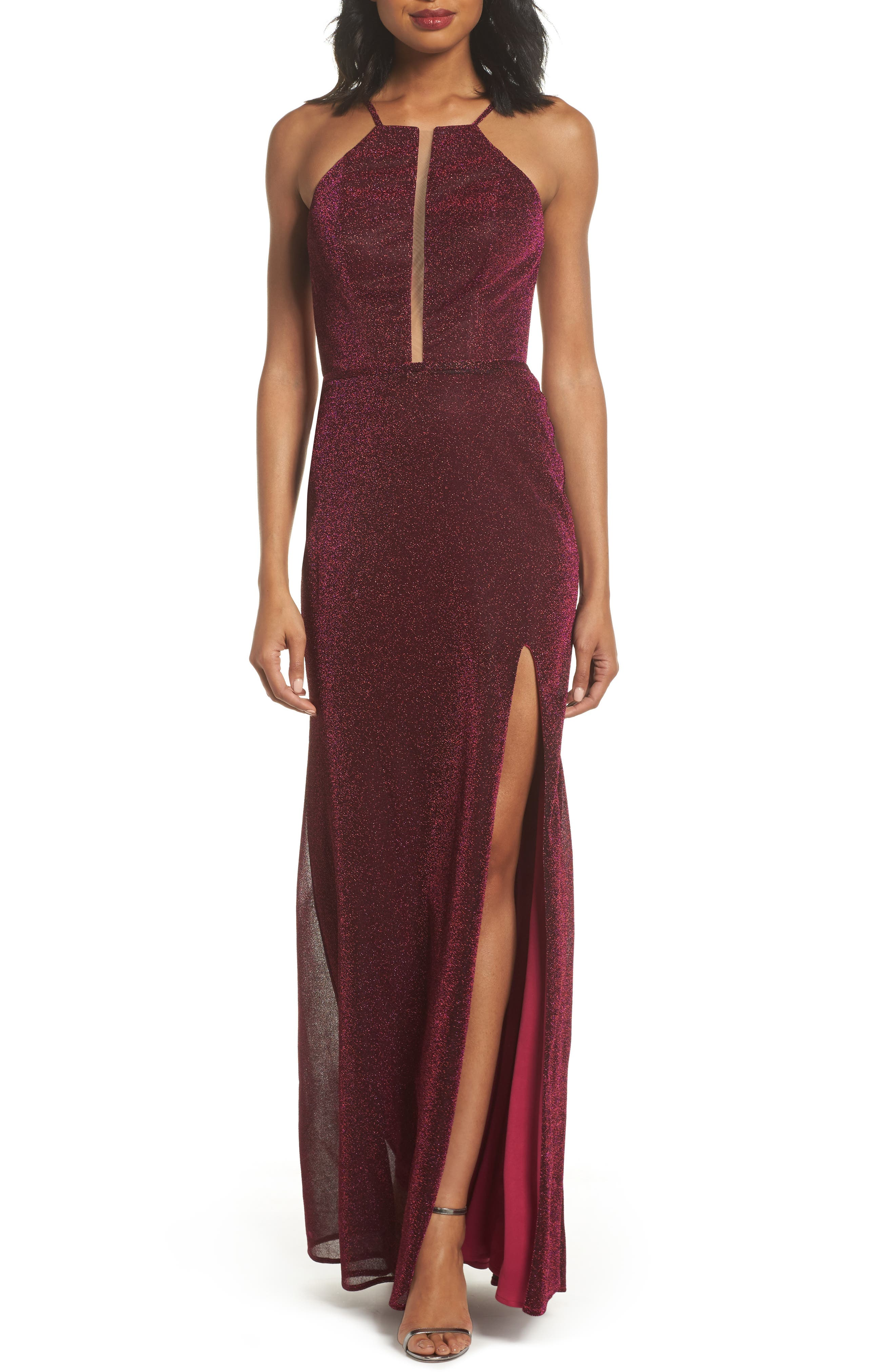 Sparkle Sheath Gown,                             Main thumbnail 1, color,                             FUCHSIA/ MULTI