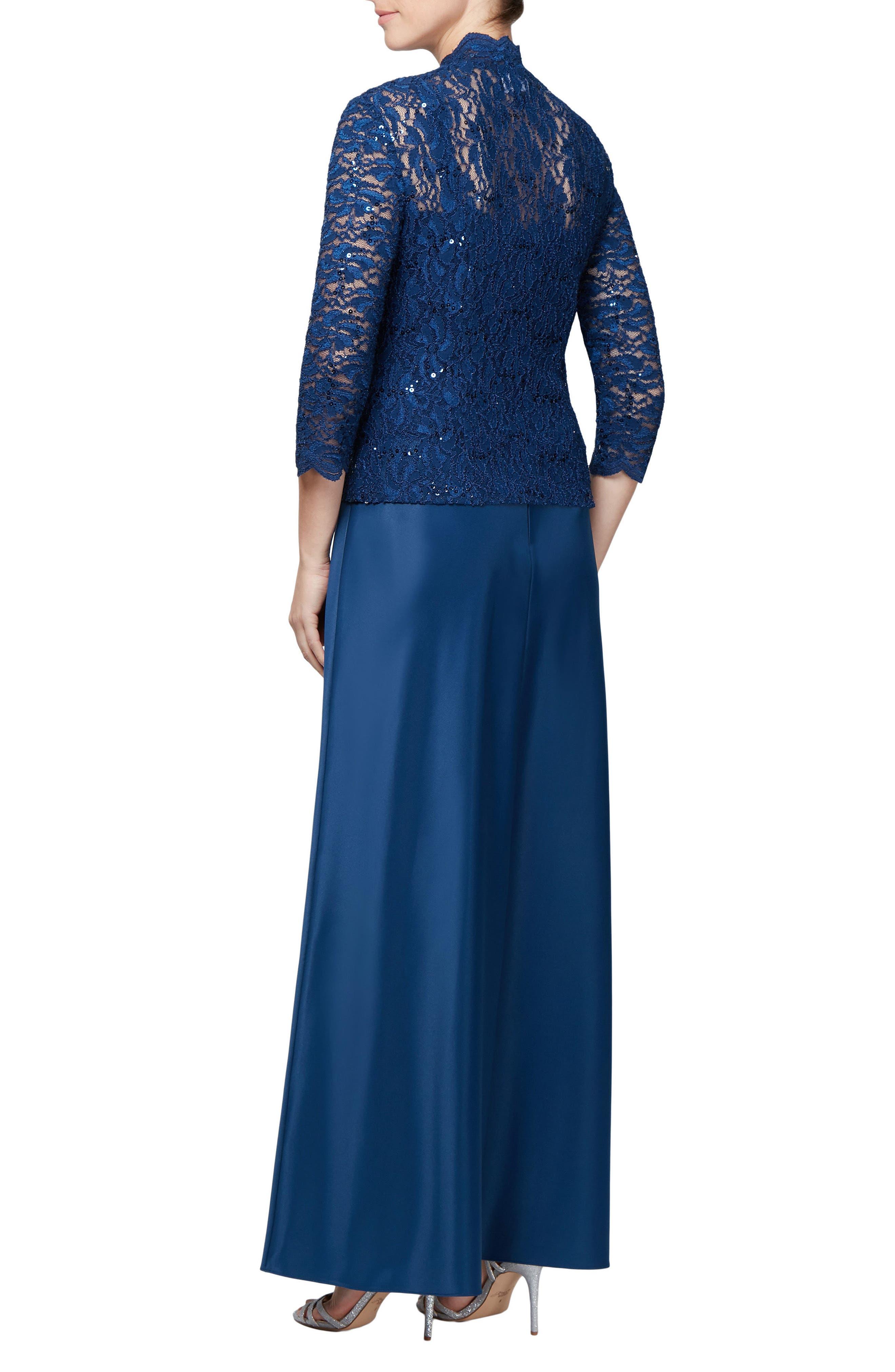 Sequin Lace Gown & Jacket,                             Alternate thumbnail 2, color,                             COBALT