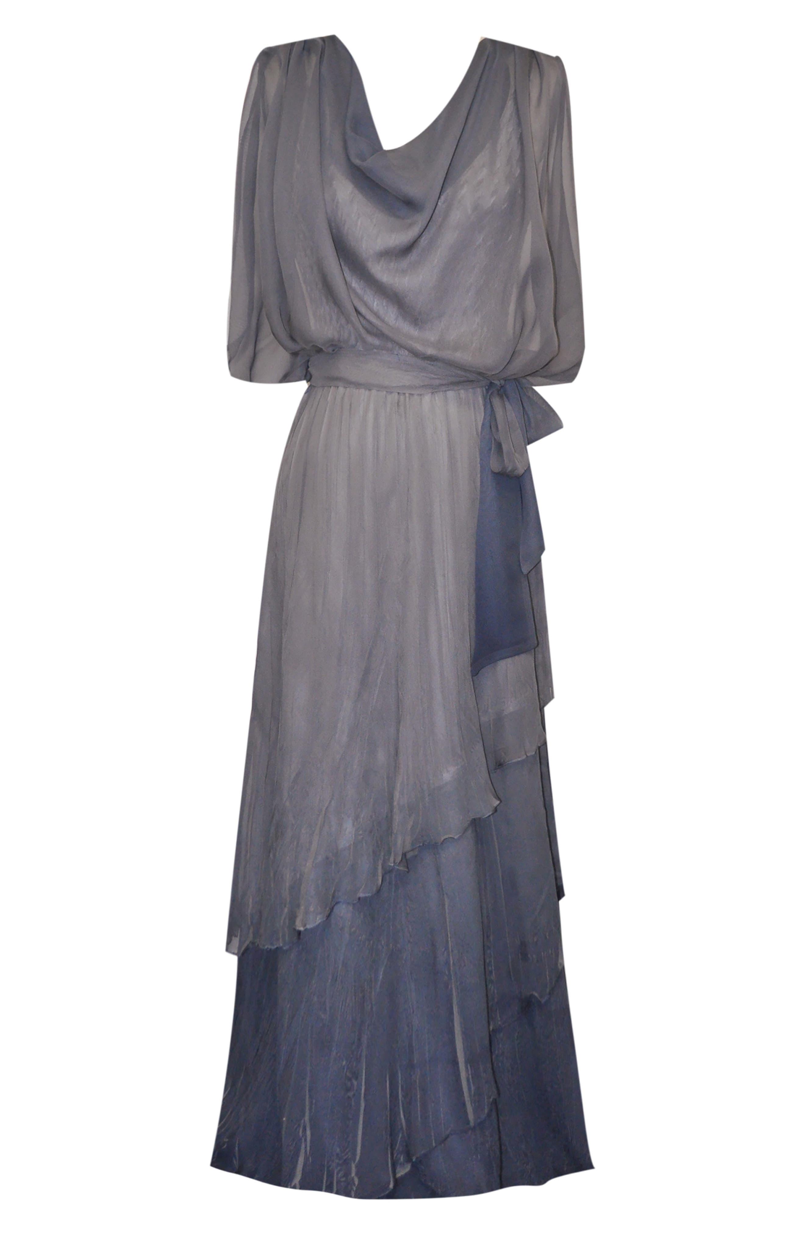 Drape Chiffon Gown,                             Alternate thumbnail 4, color,                             CONCRETE BLUE OMBRE