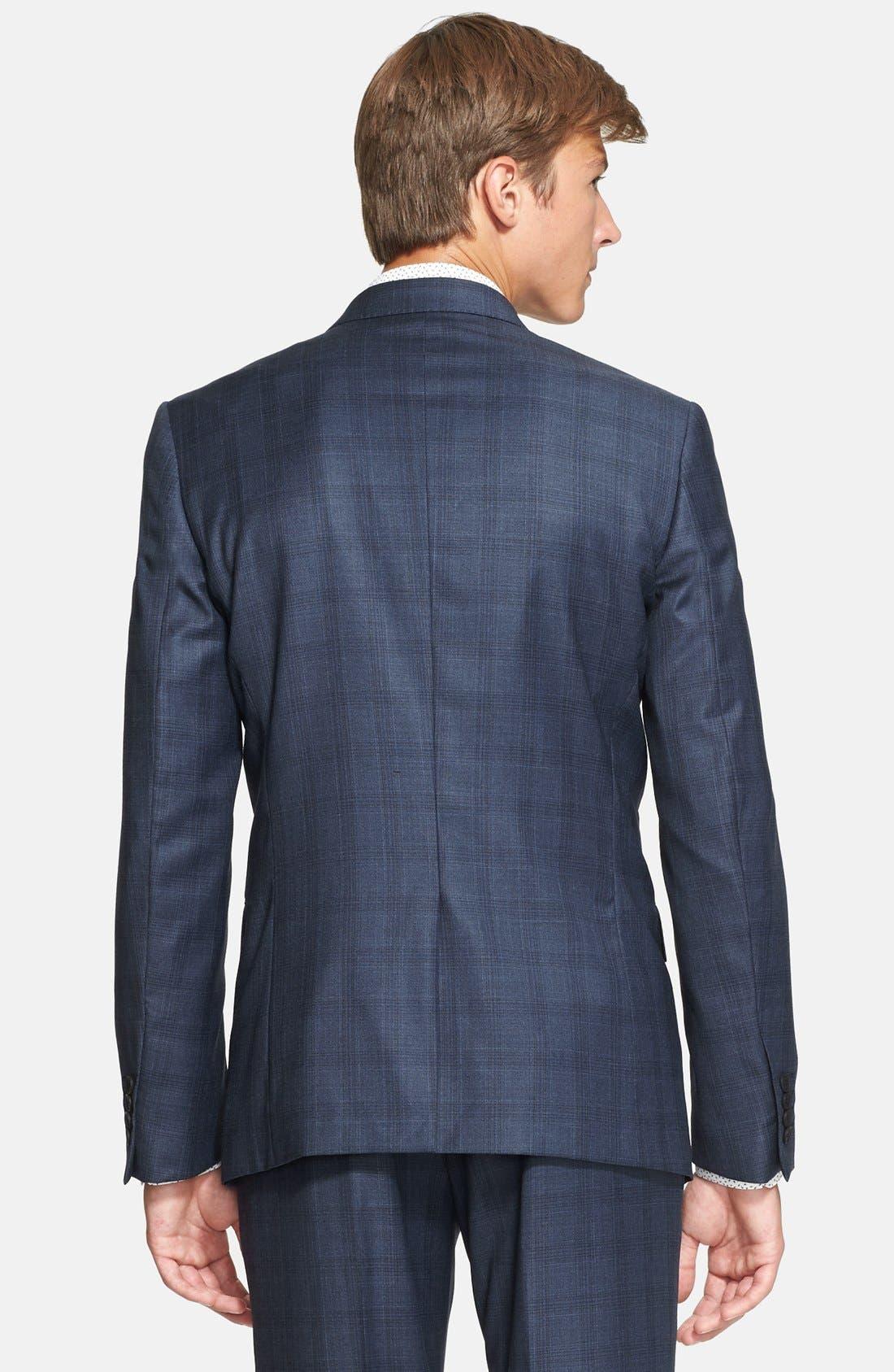 'Byard' Trim Fit Plaid Suit,                             Alternate thumbnail 3, color,                             414