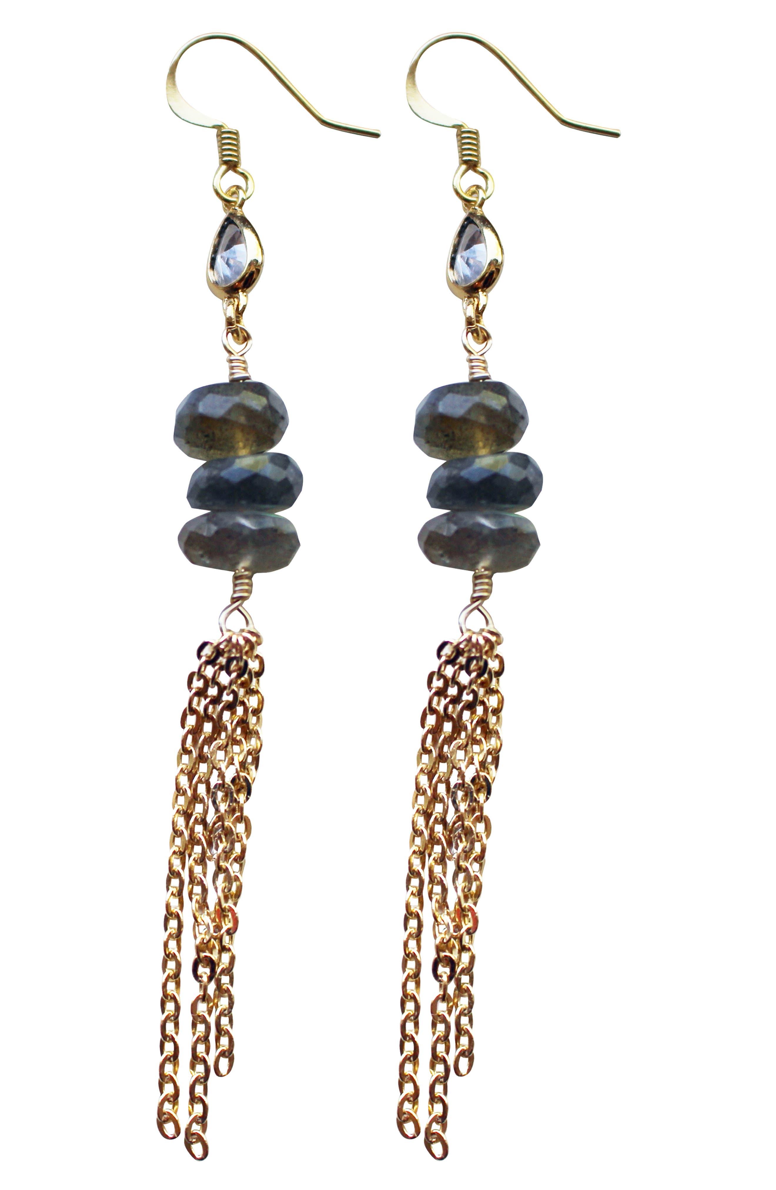 Stone & Tassel Drop Earrings,                             Main thumbnail 1, color,                             LABRADORITE