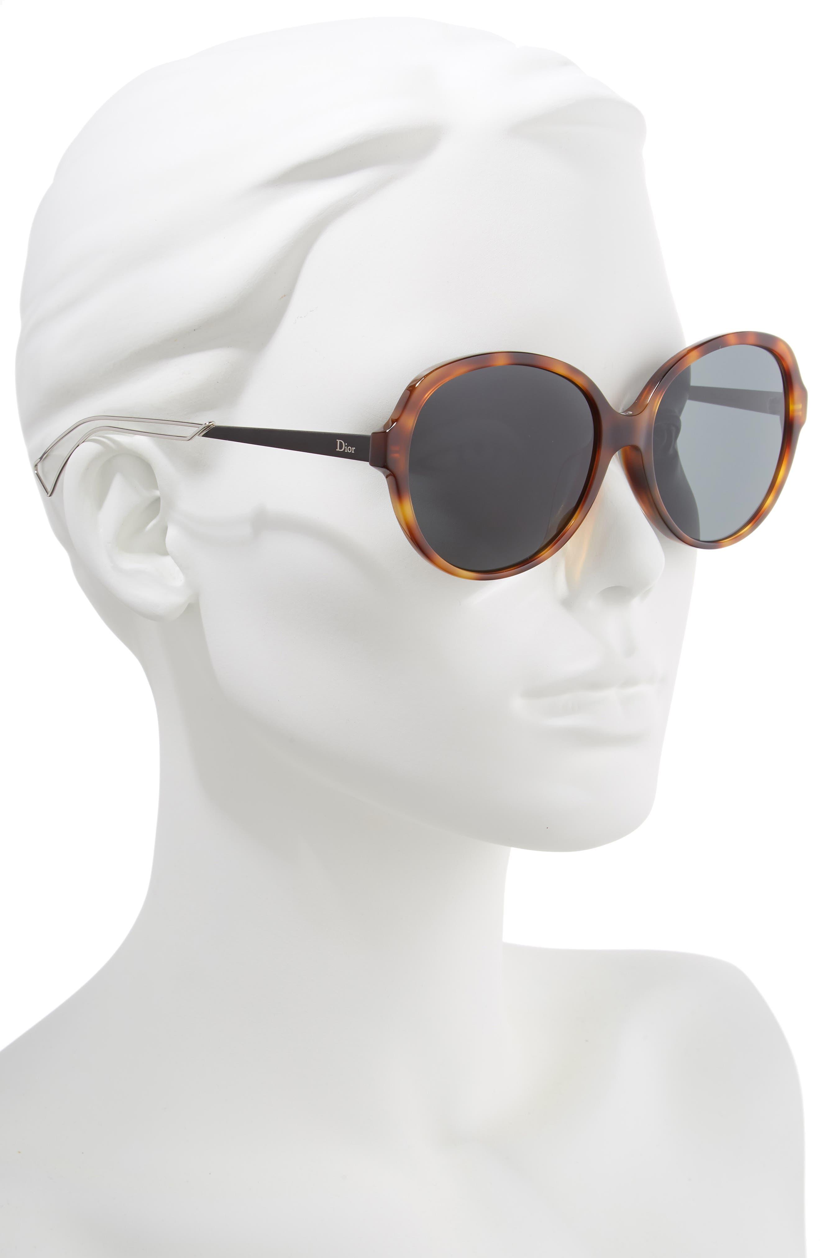 Confident 58mm Round Sunglasses,                             Alternate thumbnail 2, color,                             HAVANA/ PALLADIUM
