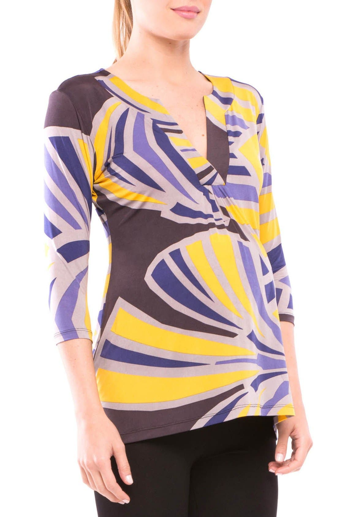 Lyla Maternity Top,                             Alternate thumbnail 3, color,                             VIOLET/ MUSTARD