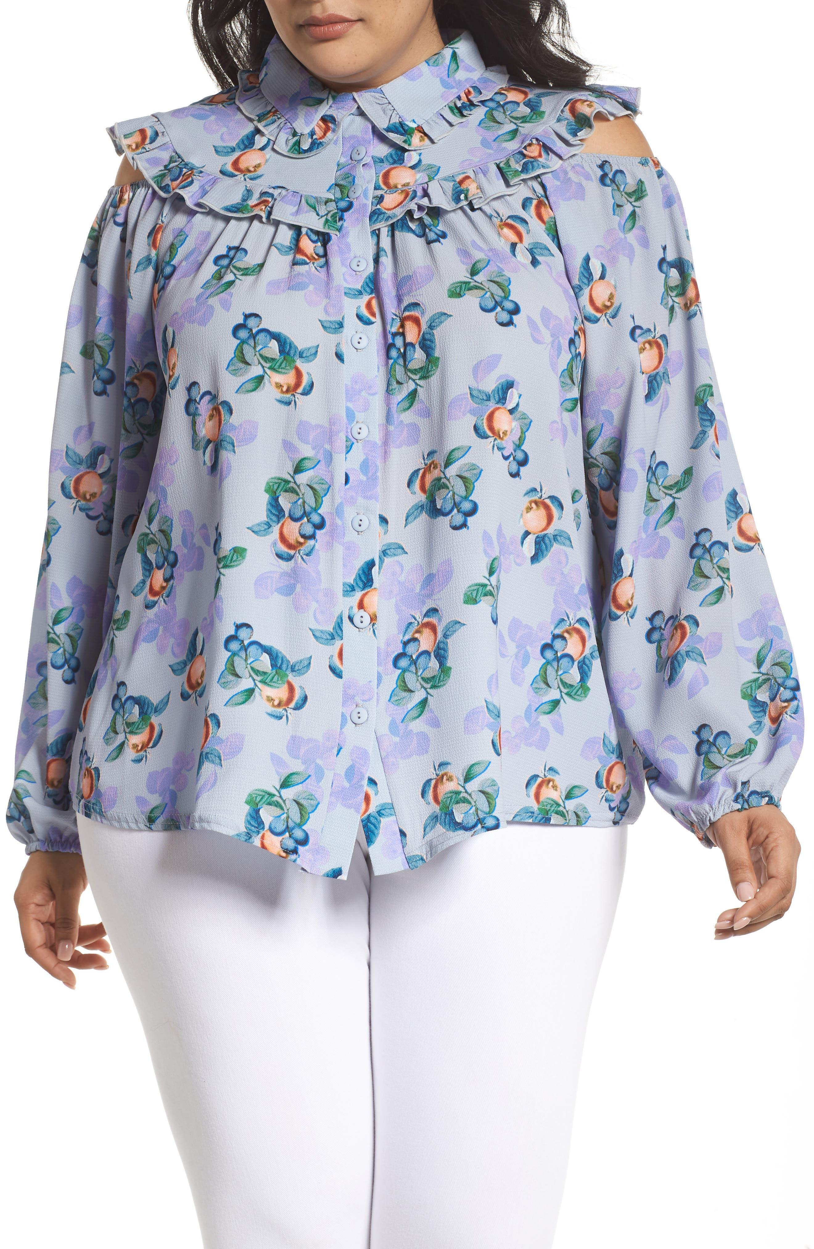 Peach Print Blouse,                         Main,                         color, 460