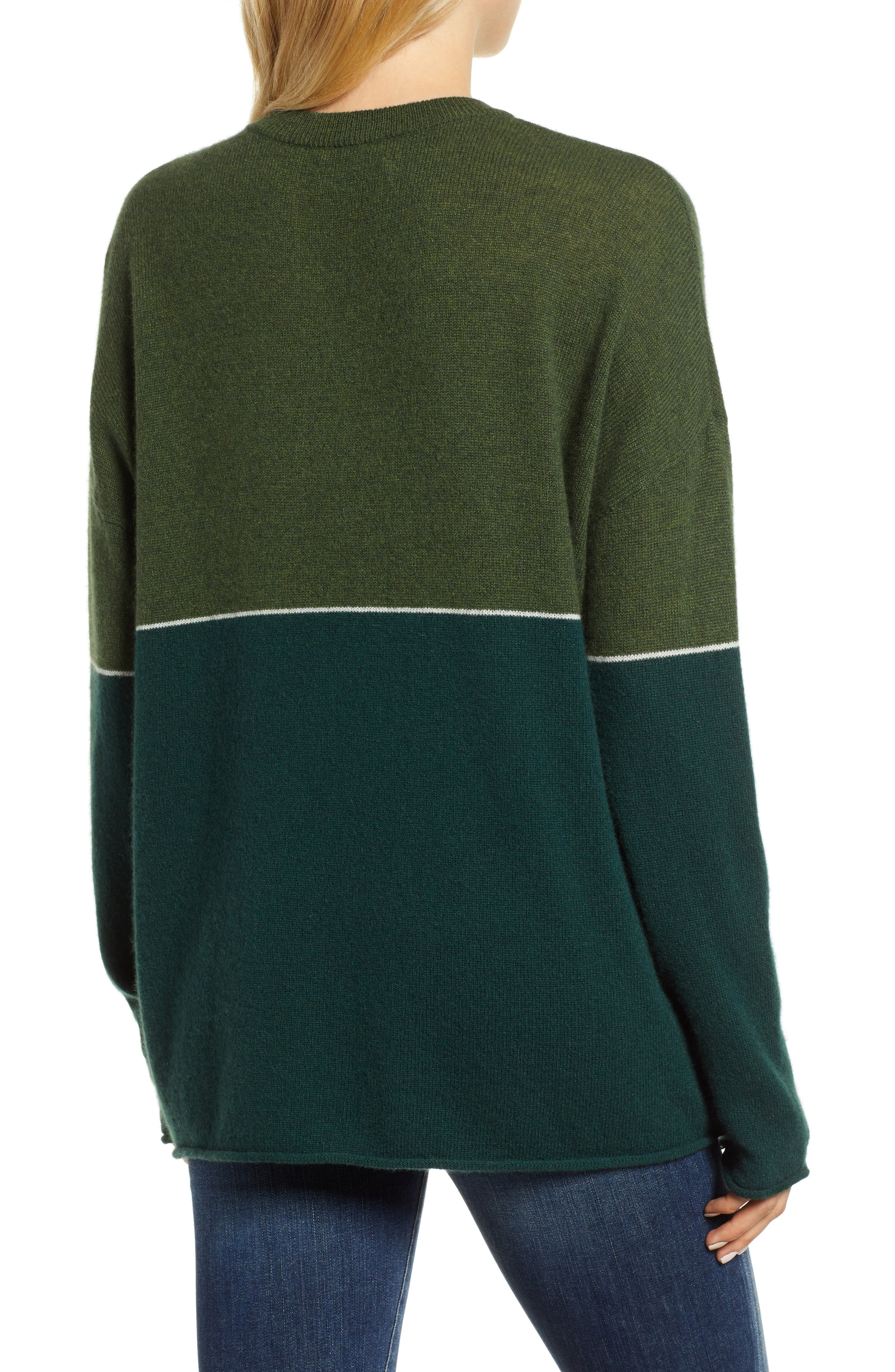 Cashmere Colorblock Sweater,                             Alternate thumbnail 2, color,                             FOREST/ ARMY