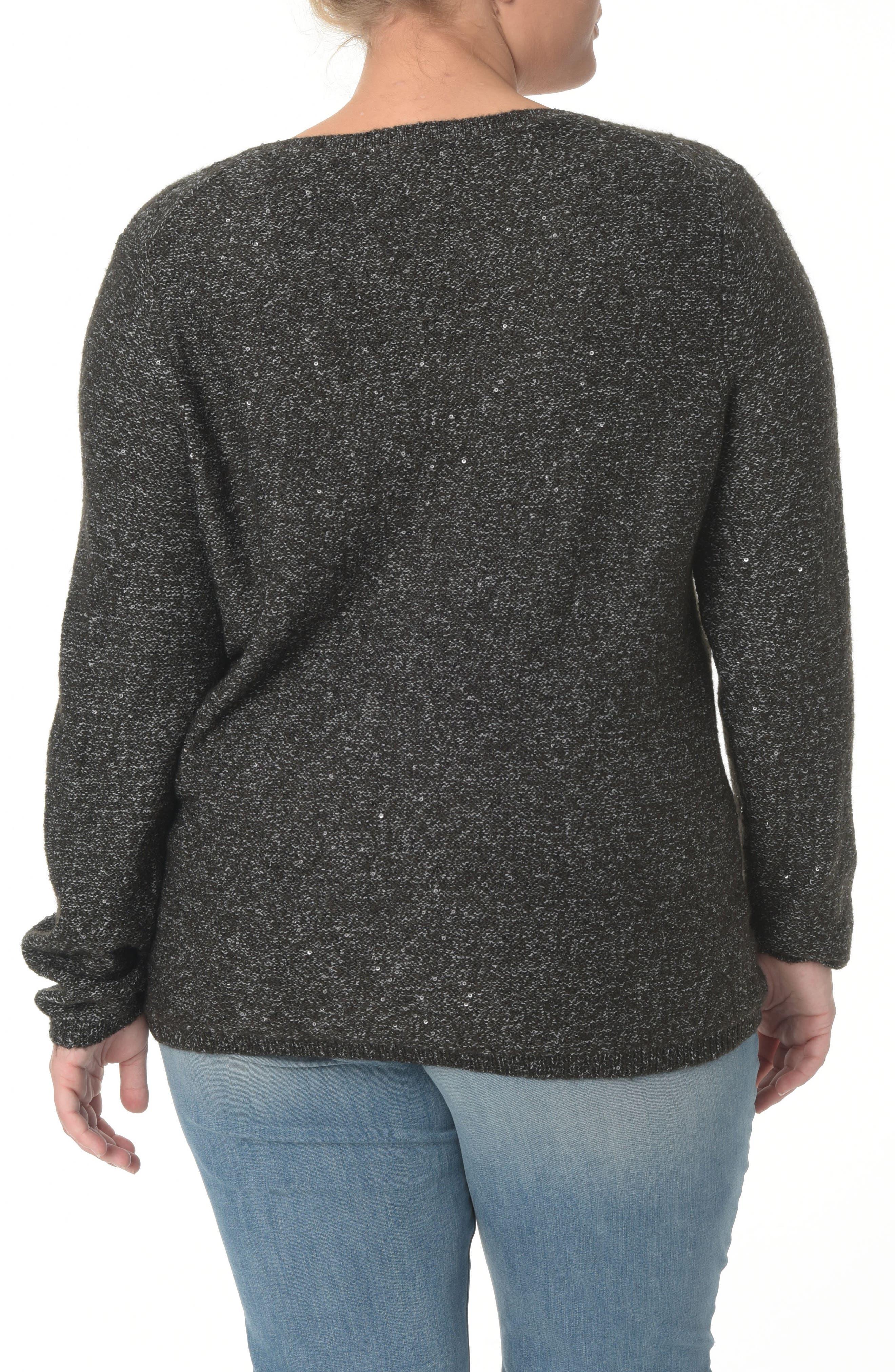 Sequin Scoop Neck Sweater,                             Alternate thumbnail 2, color,                             BLACK