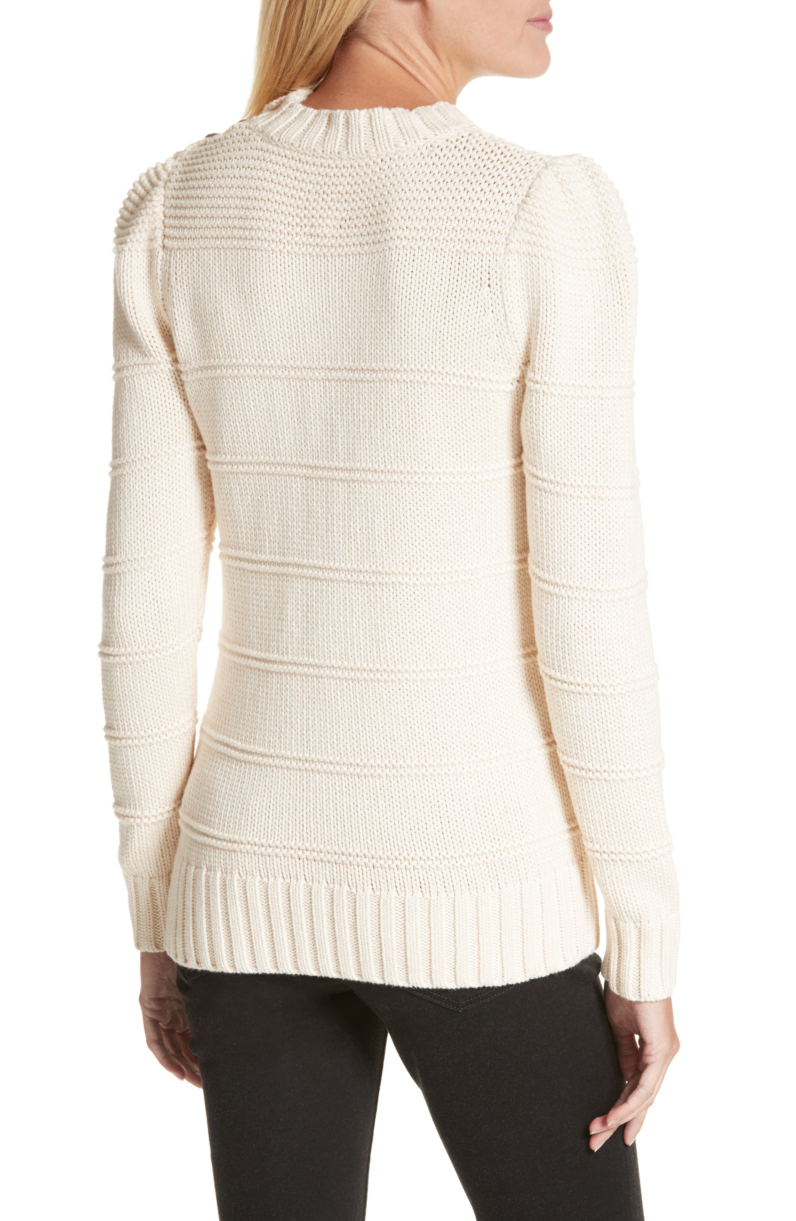 Stripe Cotton & Merino Wool Sweater,                             Alternate thumbnail 4, color,