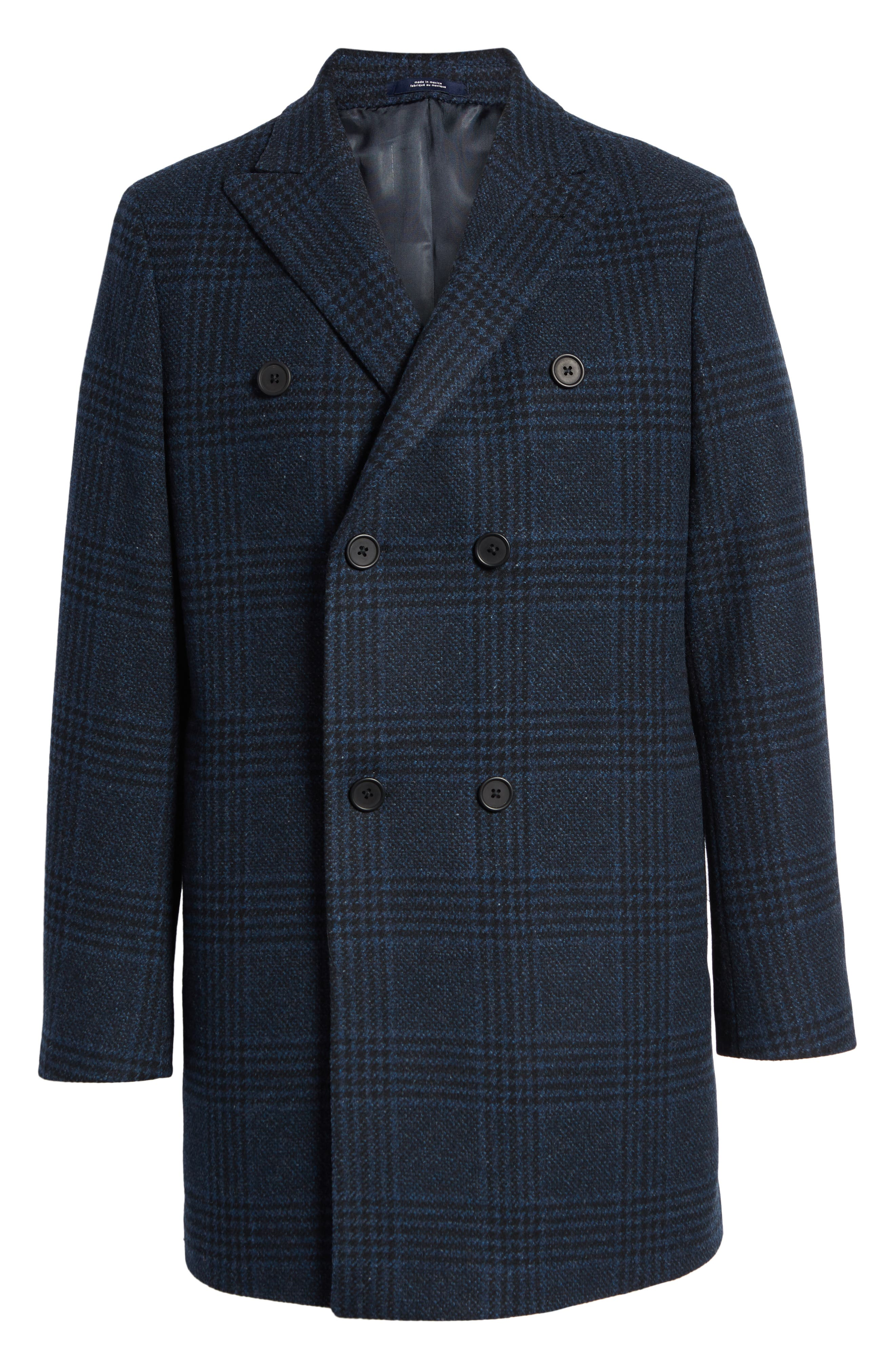 Jackson Extra Trim Fit Wool Overcoat,                             Alternate thumbnail 5, color,                             NAVY