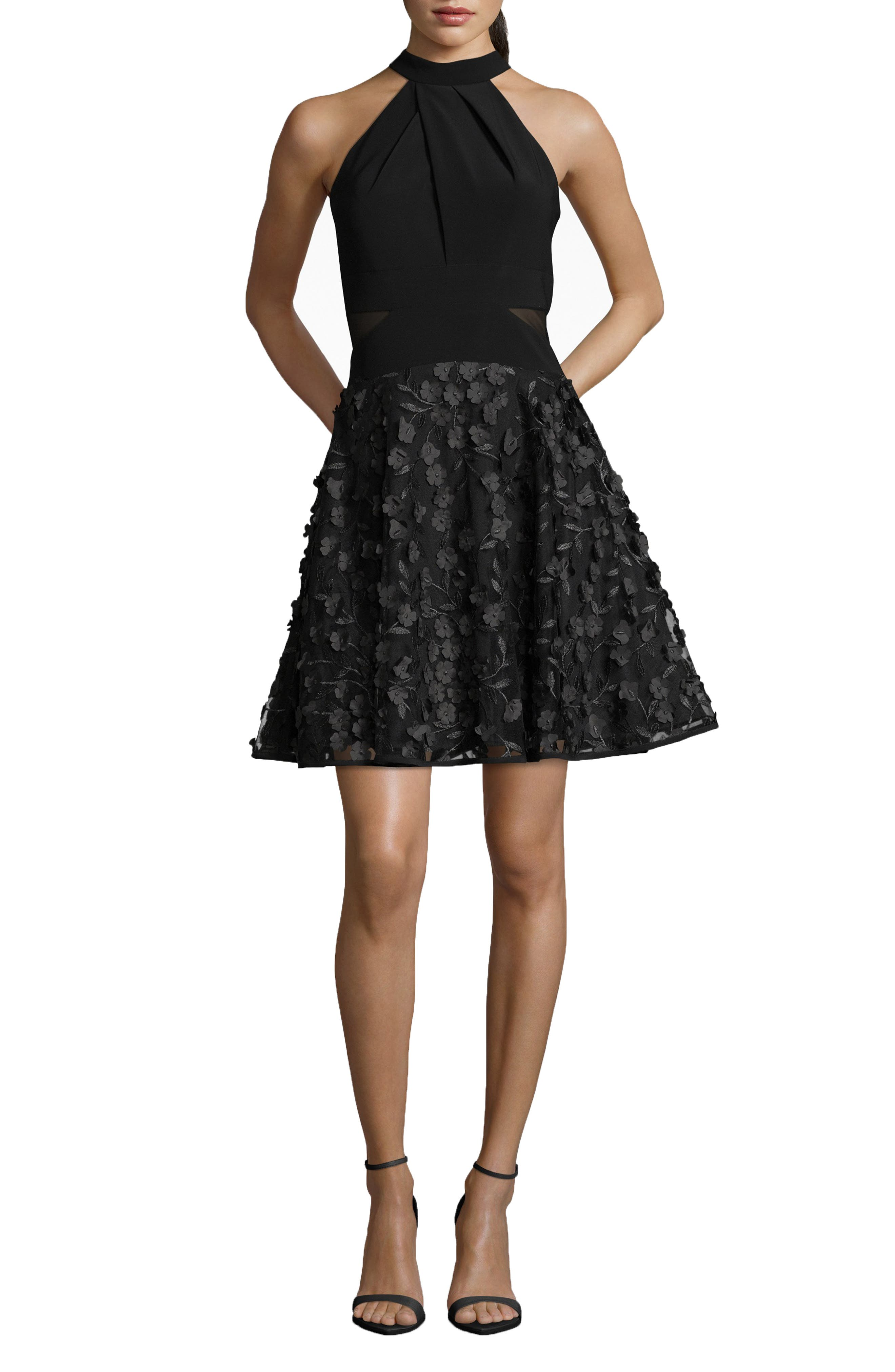 3D Floral Party Dress,                         Main,                         color, BLACK/ BLACK