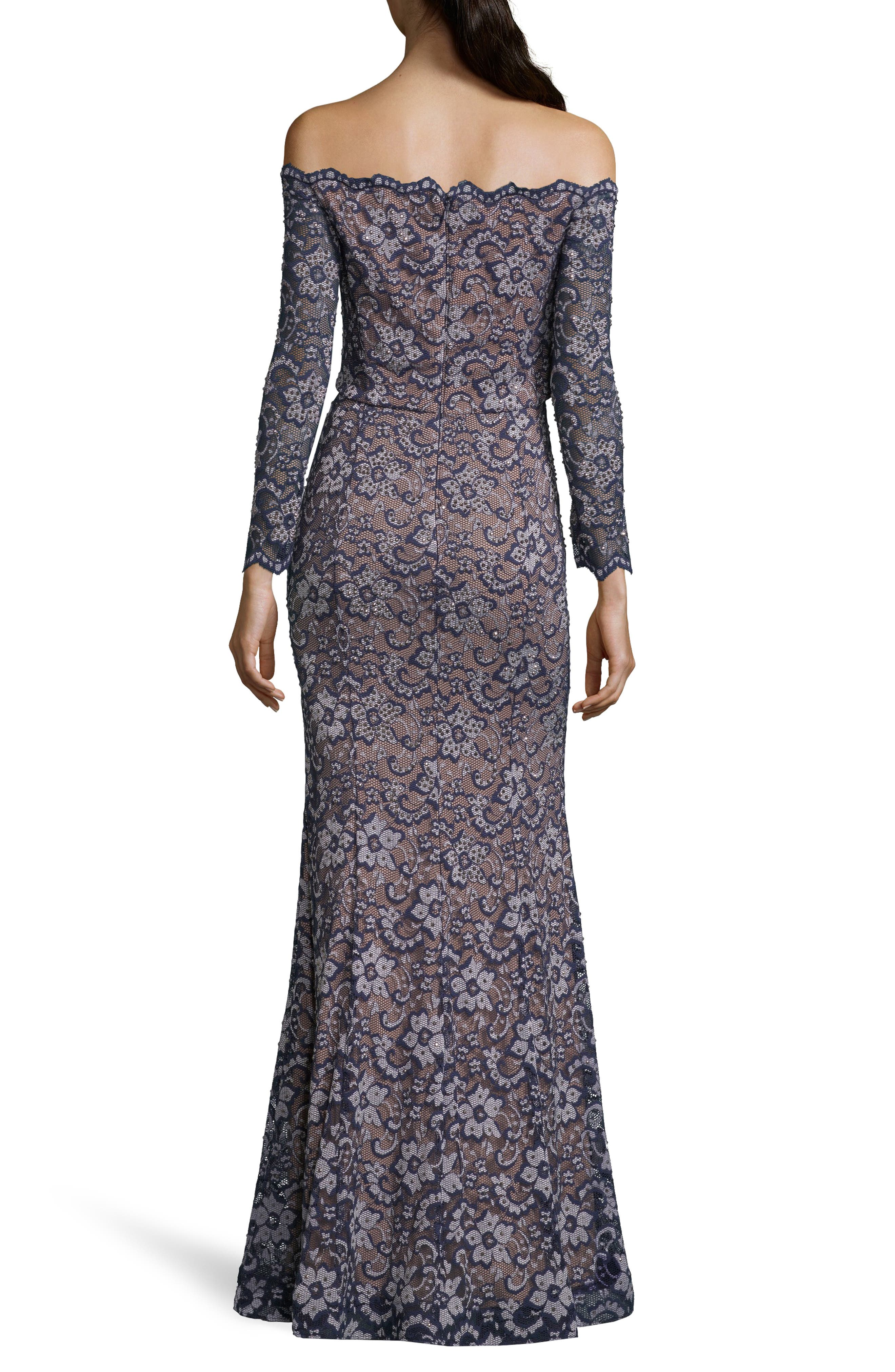 XSCAPE,                             Off the Shoulder Lace Evening Dress,                             Alternate thumbnail 2, color,                             NAVY/ NUDE