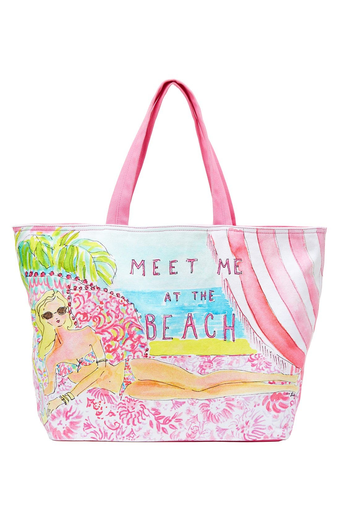 LILLY PULITZER<SUP>®</SUP>,                             Print Canvas Beach Tote,                             Main thumbnail 1, color,                             650