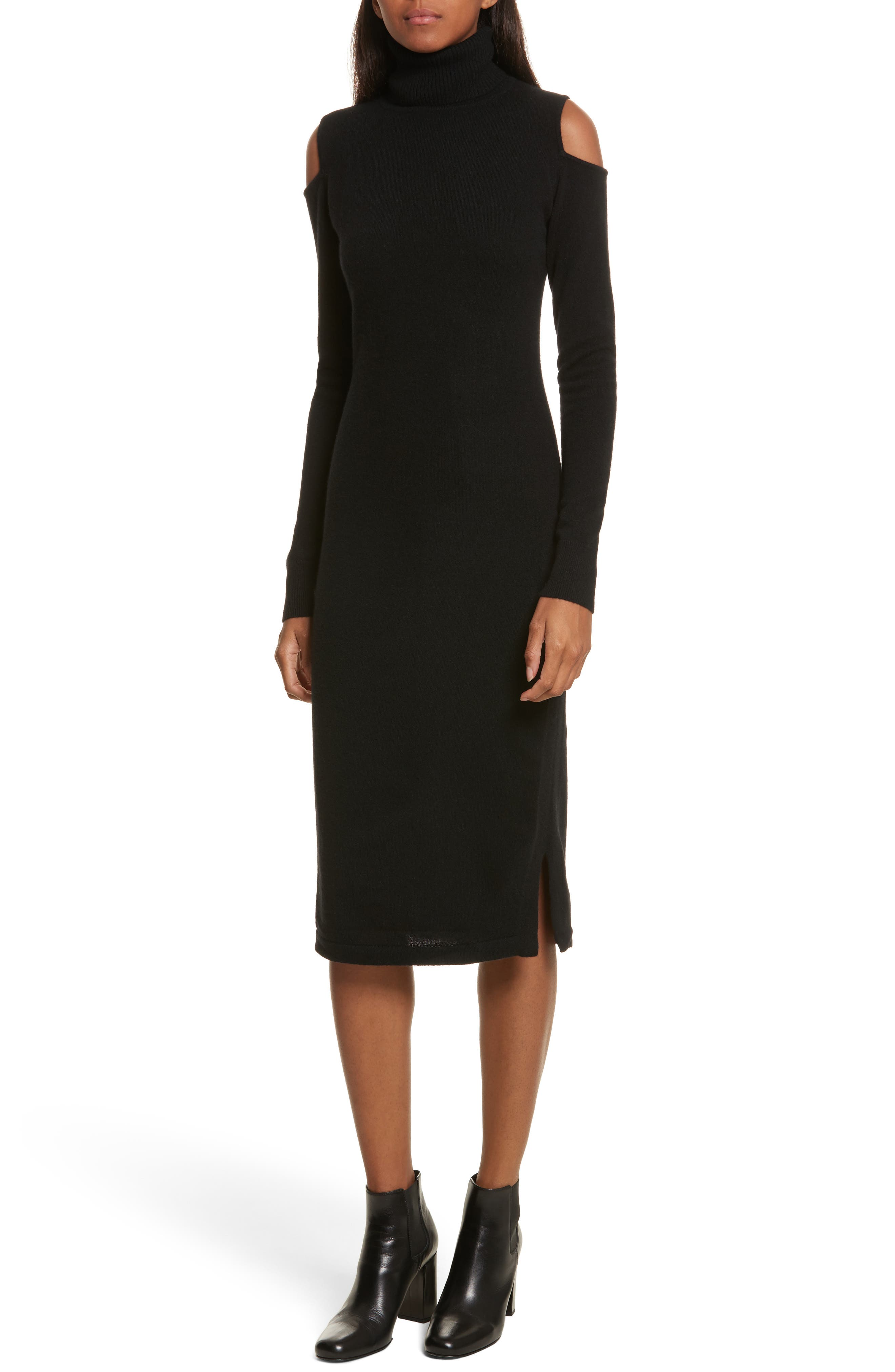 Cashmere Cold Shoulder Turtleneck Sweater Dress,                             Main thumbnail 1, color,