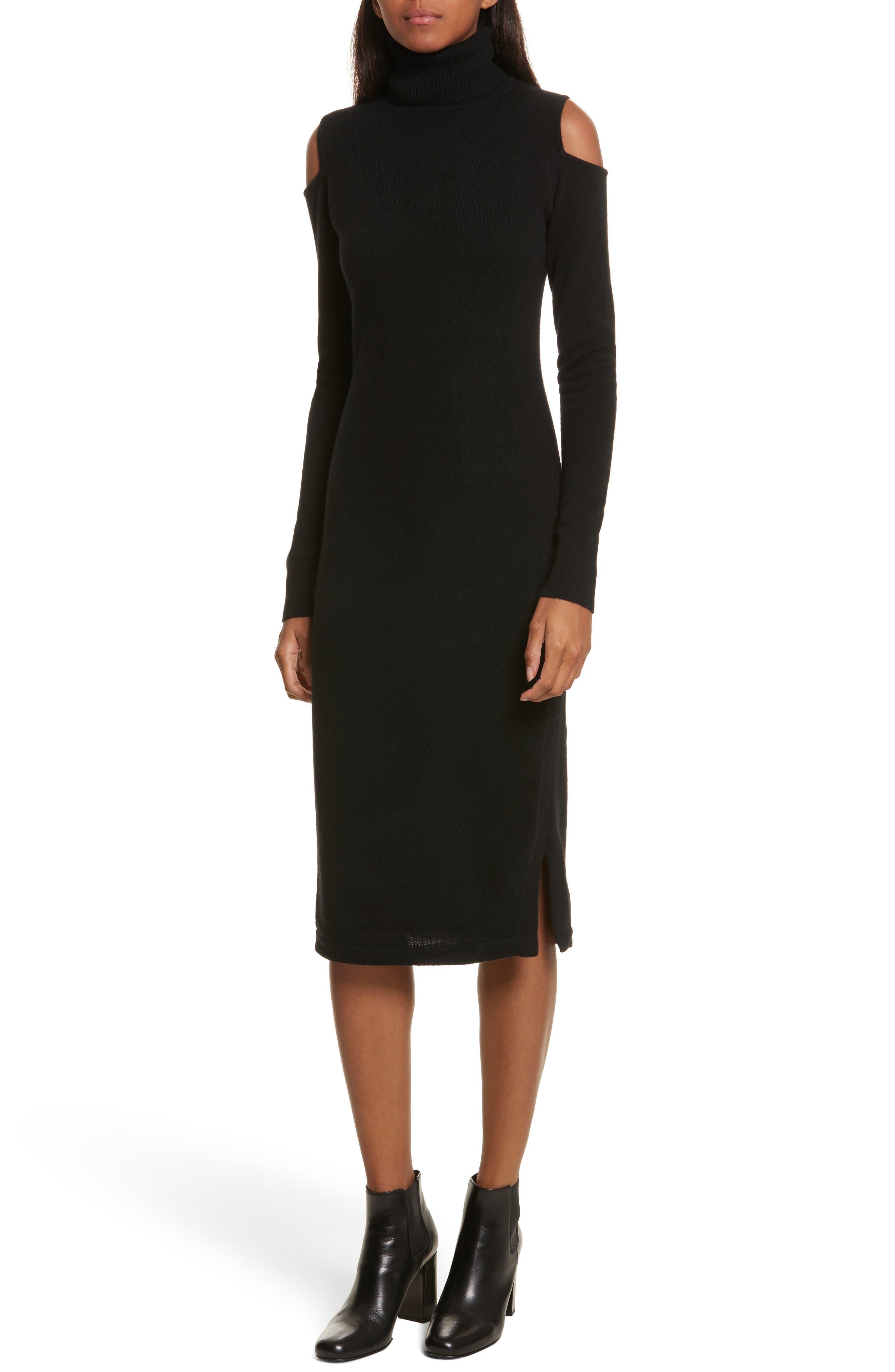 Cashmere Cold Shoulder Turtleneck Sweater Dress,                         Main,                         color,