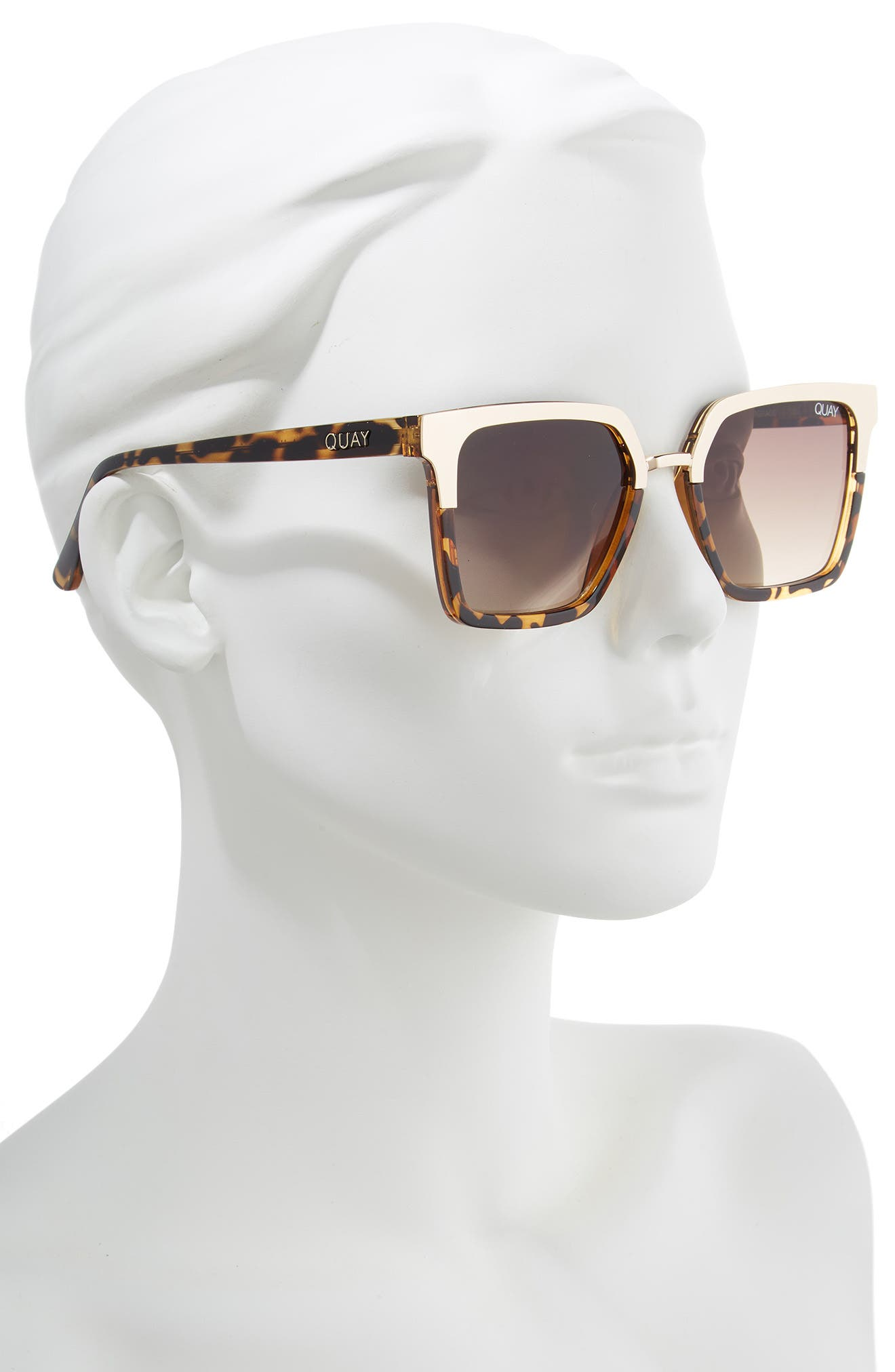 x Jaclyn Hill Upgrade 55mm Square Sunglasses,                             Alternate thumbnail 3, color,                             TORT GOLD / BROWN