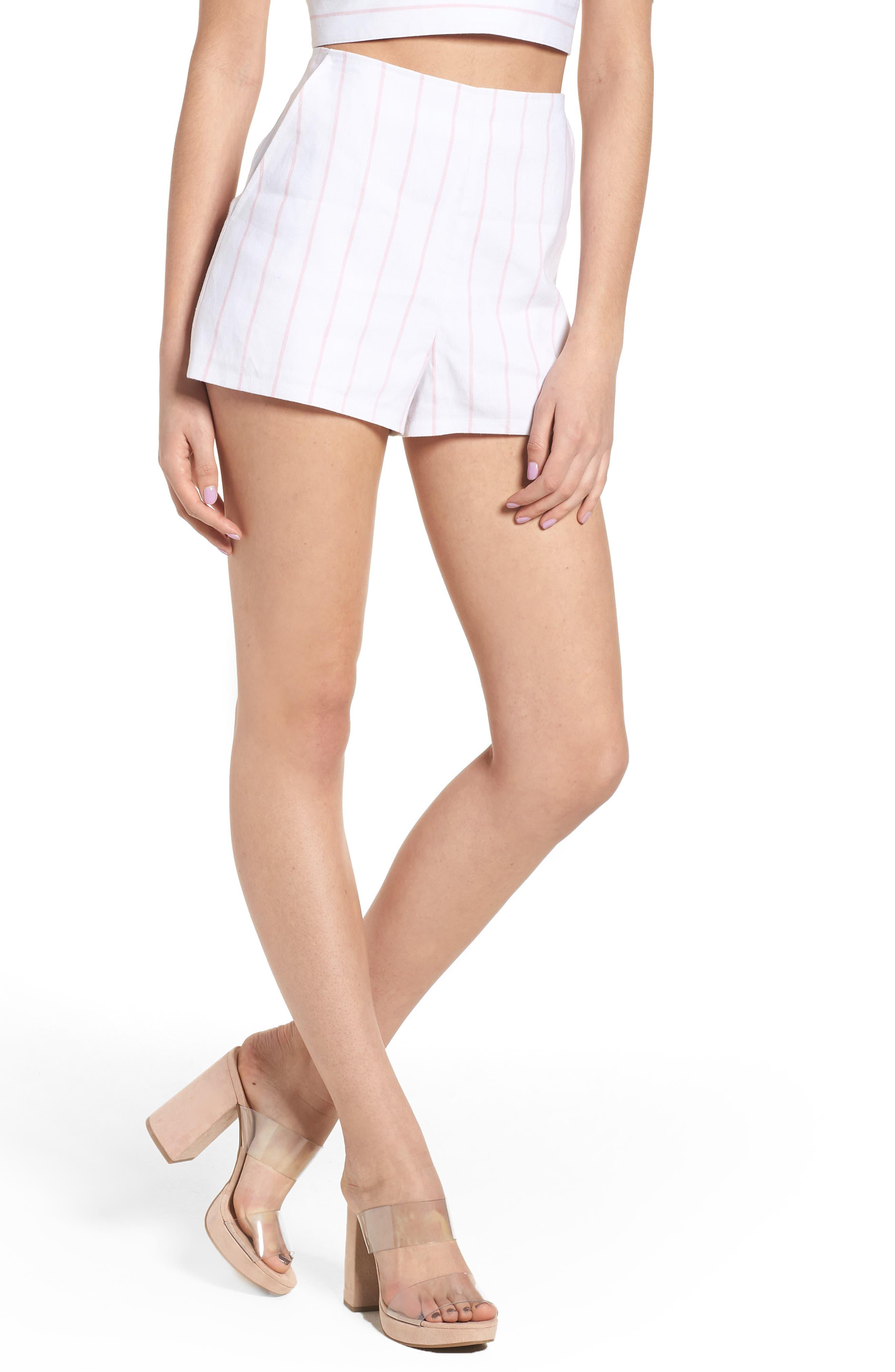 High Waist Linen Blend Shorts,                             Main thumbnail 2, color,