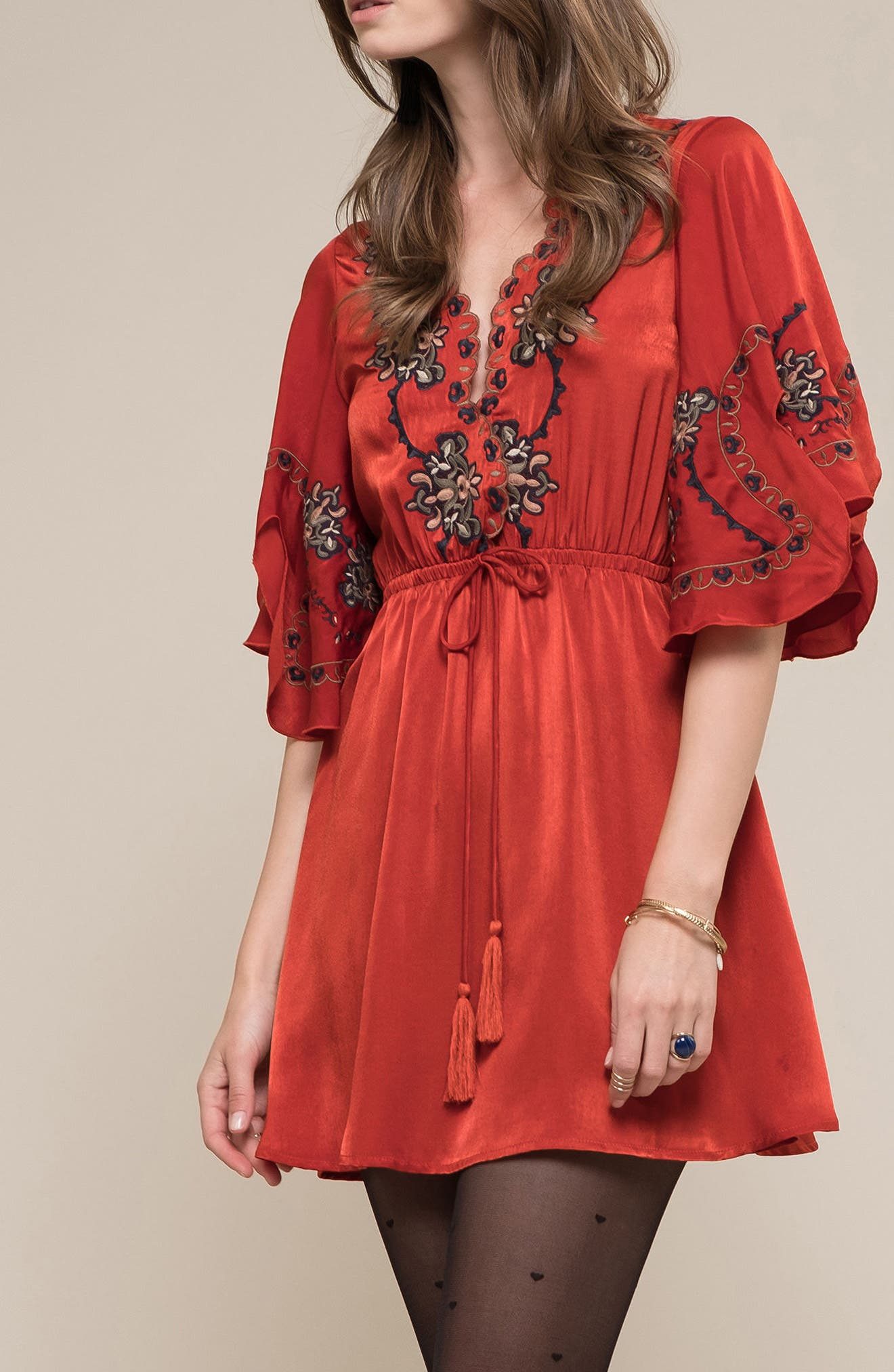 Embroidered Babydoll Dress,                             Alternate thumbnail 7, color,                             650