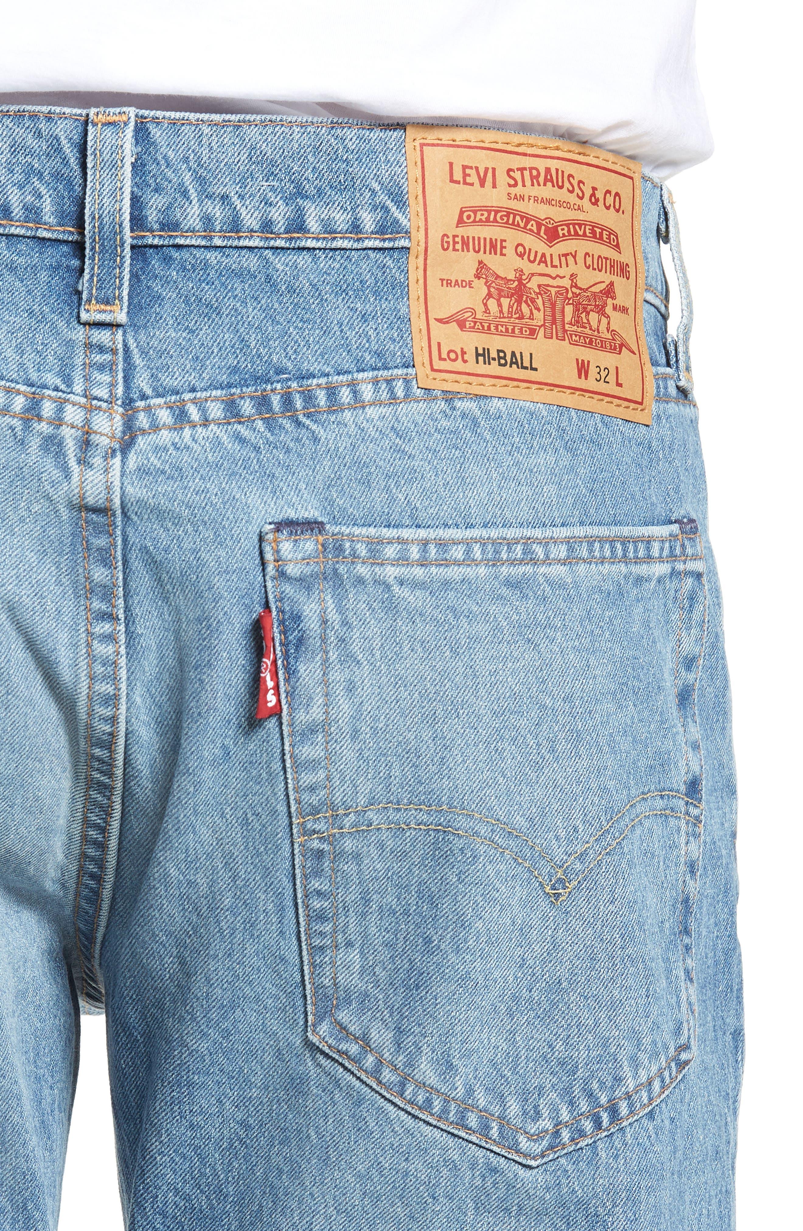 Hi-Ball Straight Leg Jeans,                             Alternate thumbnail 4, color,                             LIGHT BLUE