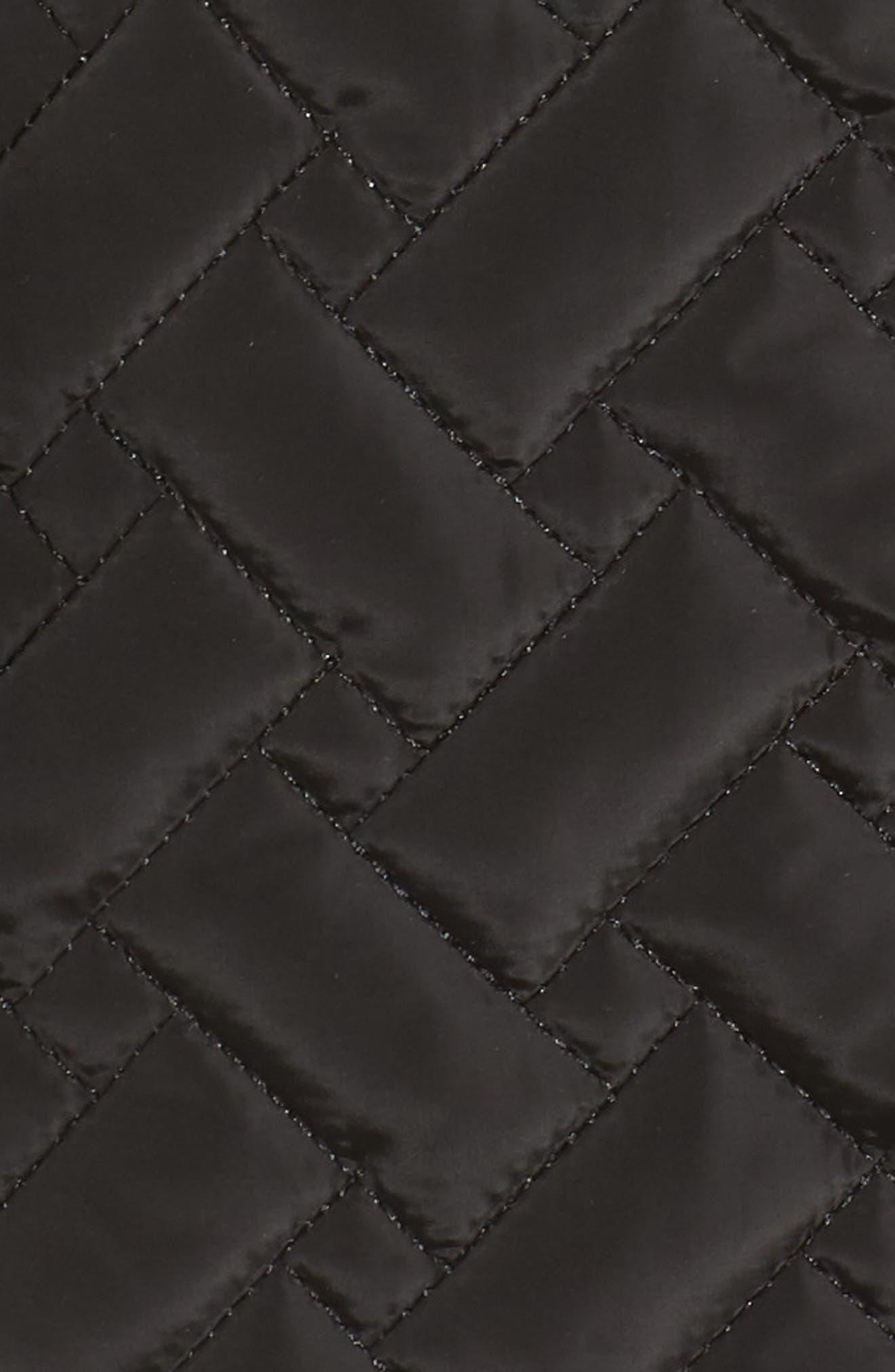 Quilted Short Coat,                             Alternate thumbnail 6, color,                             BLACK