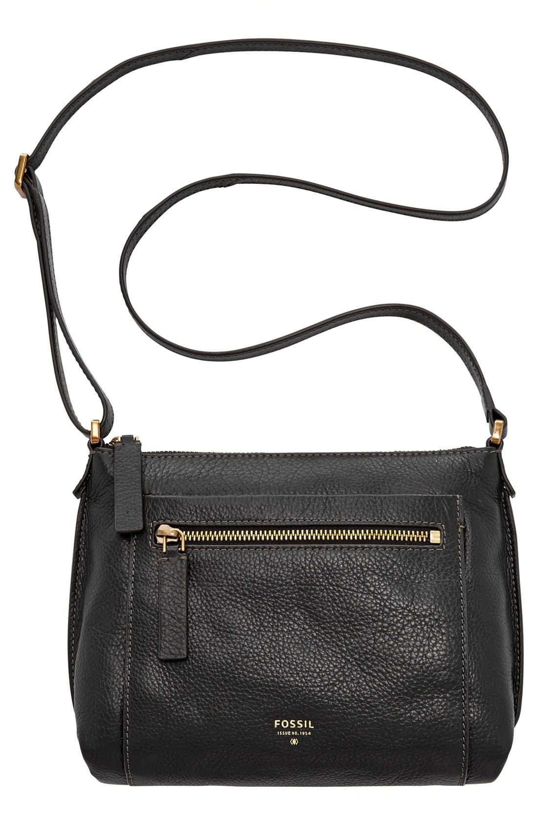 'Vickery' Leather Crossbody Bag,                             Alternate thumbnail 4, color,                             001