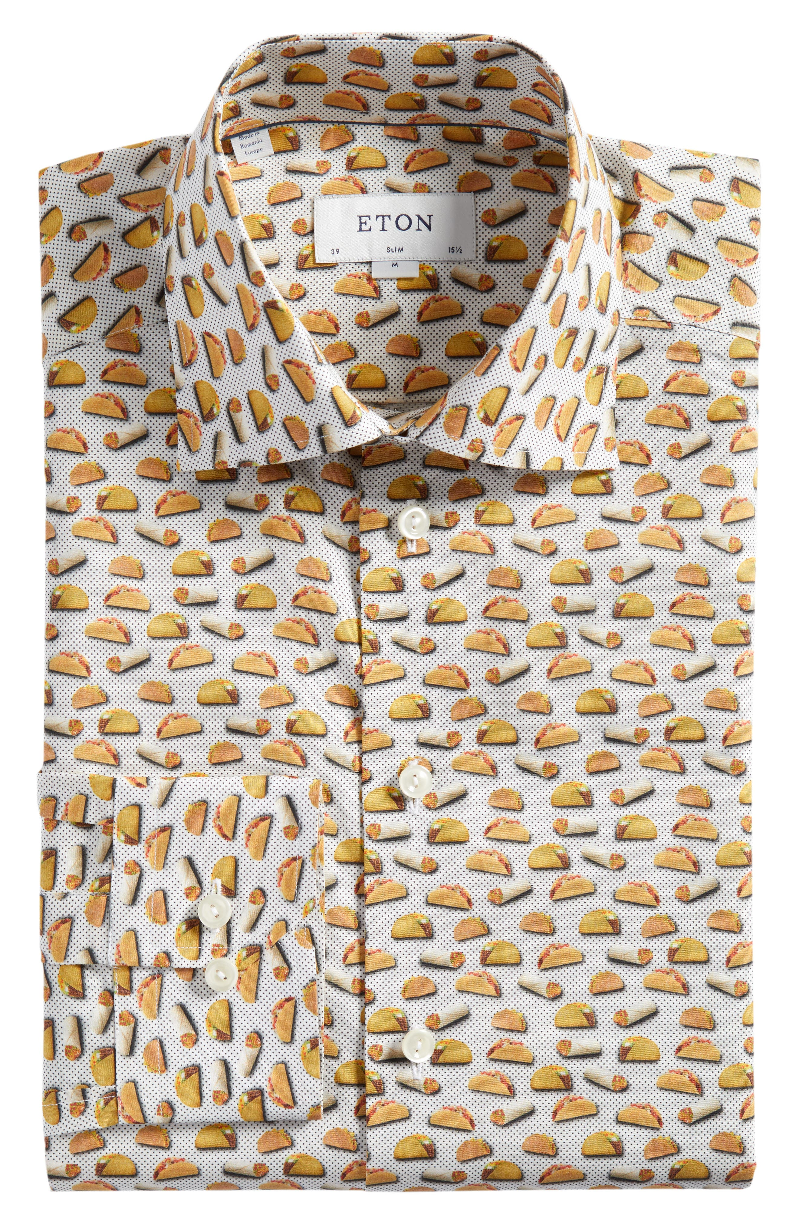 Slim Fit Taco Print Dress Shirt,                             Alternate thumbnail 5, color,                             100