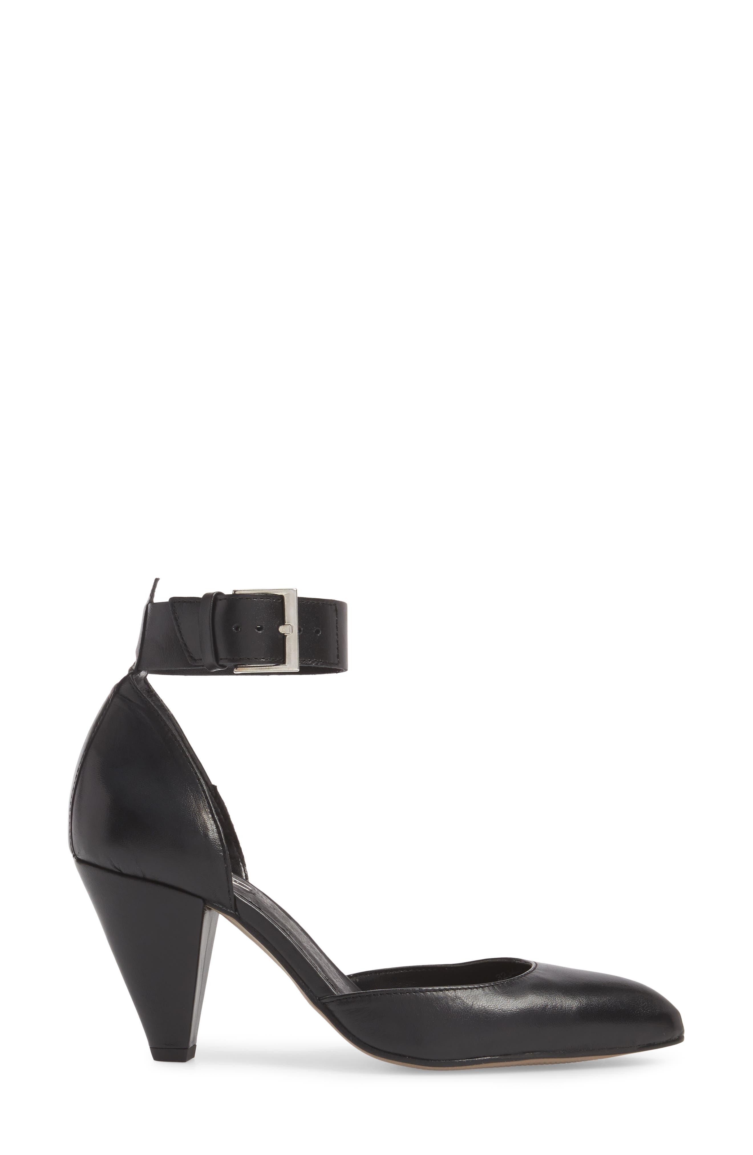 Jazzie Ankle Strap d'Orsay Pump,                             Alternate thumbnail 3, color,                             BLACK