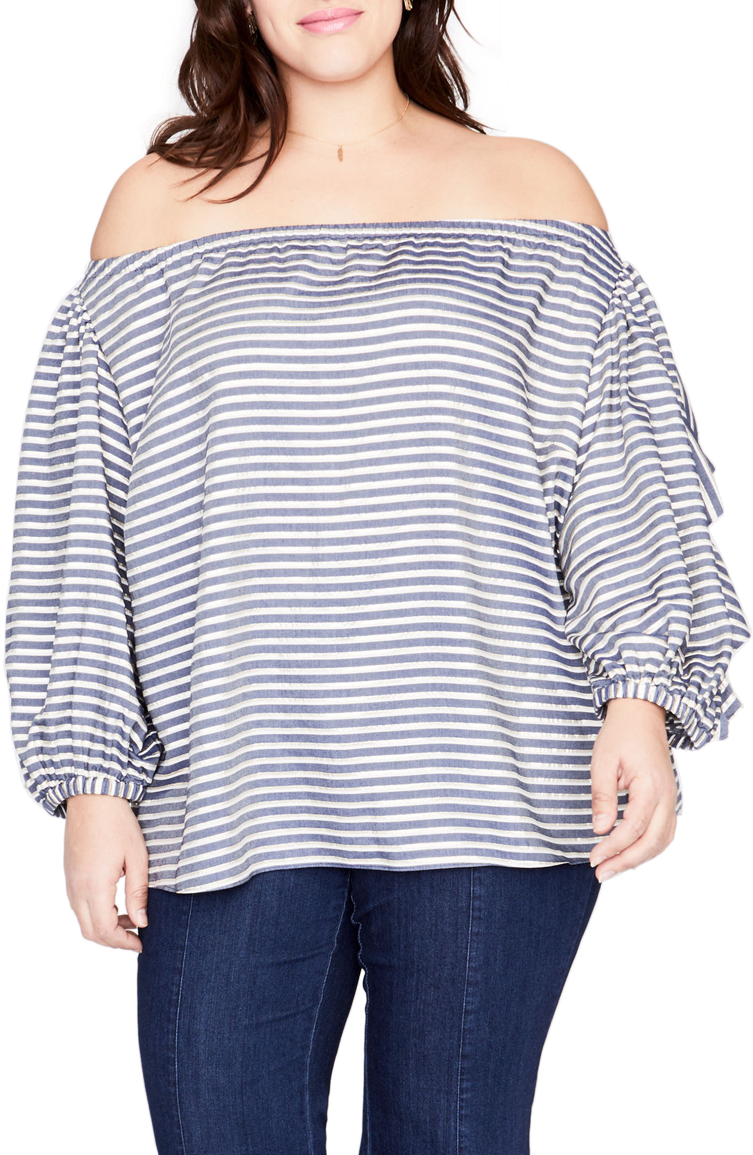 Ruffle Sleeve Stripe Off the Shoulder Top,                             Main thumbnail 1, color,                             TRUE NAVY COMBO