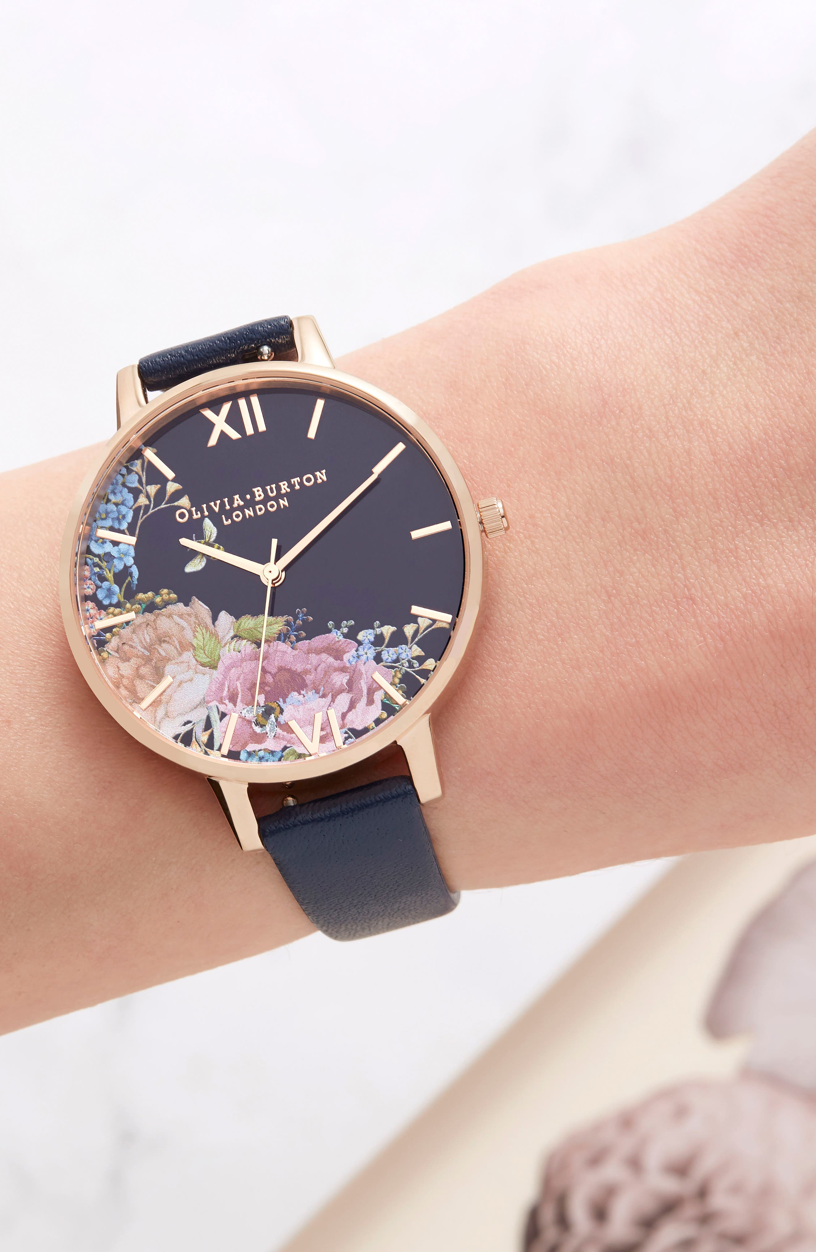 Enchanted Garden Leather Strap Watch, 38mm,                             Alternate thumbnail 6, color,                             NAVY/ FLORAL/ ROSE GOLD