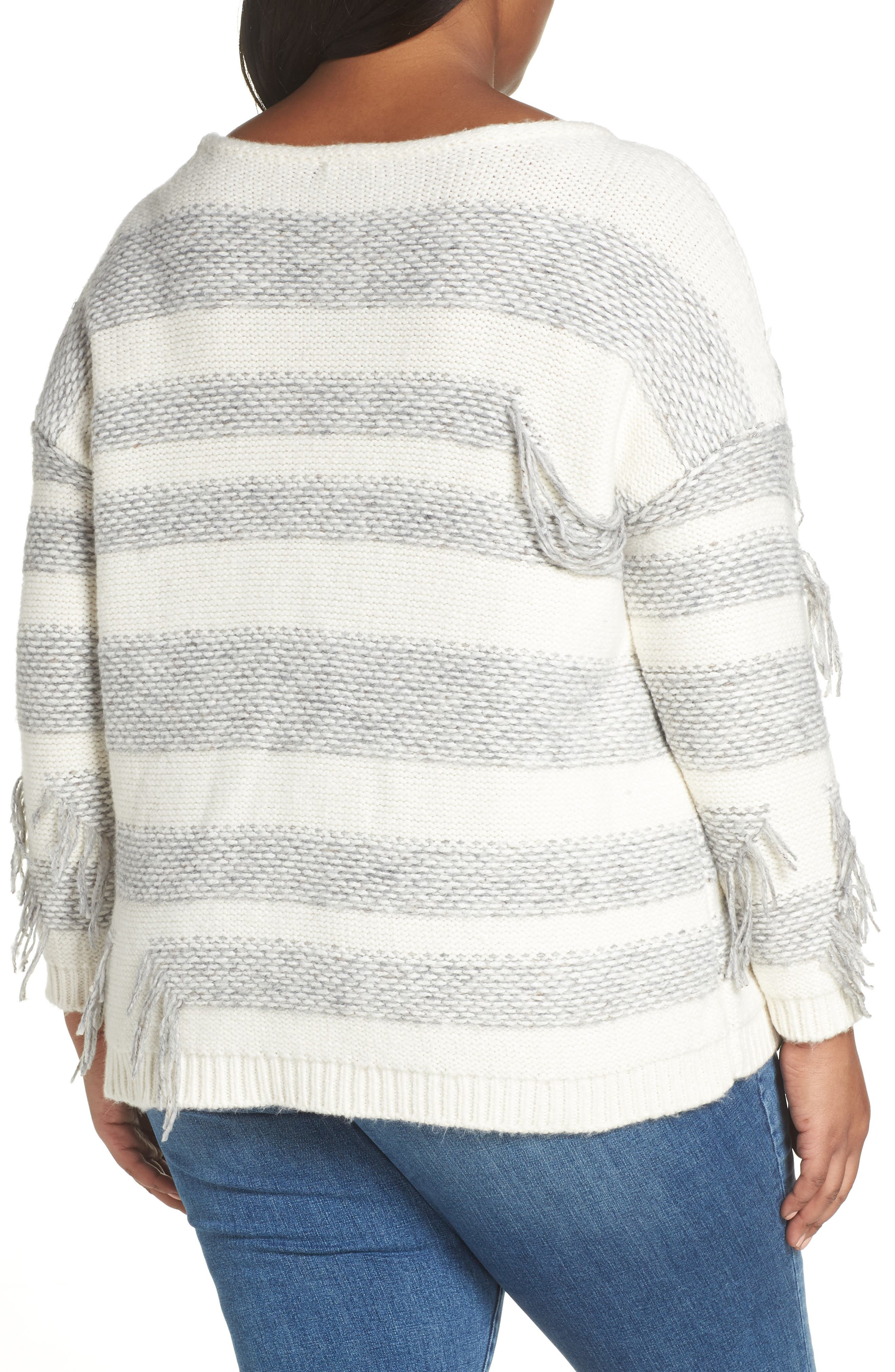 Fringe Detail Stripe Cotton Blend Sweater,                             Alternate thumbnail 2, color,                             LIGHT HEATHER GREY