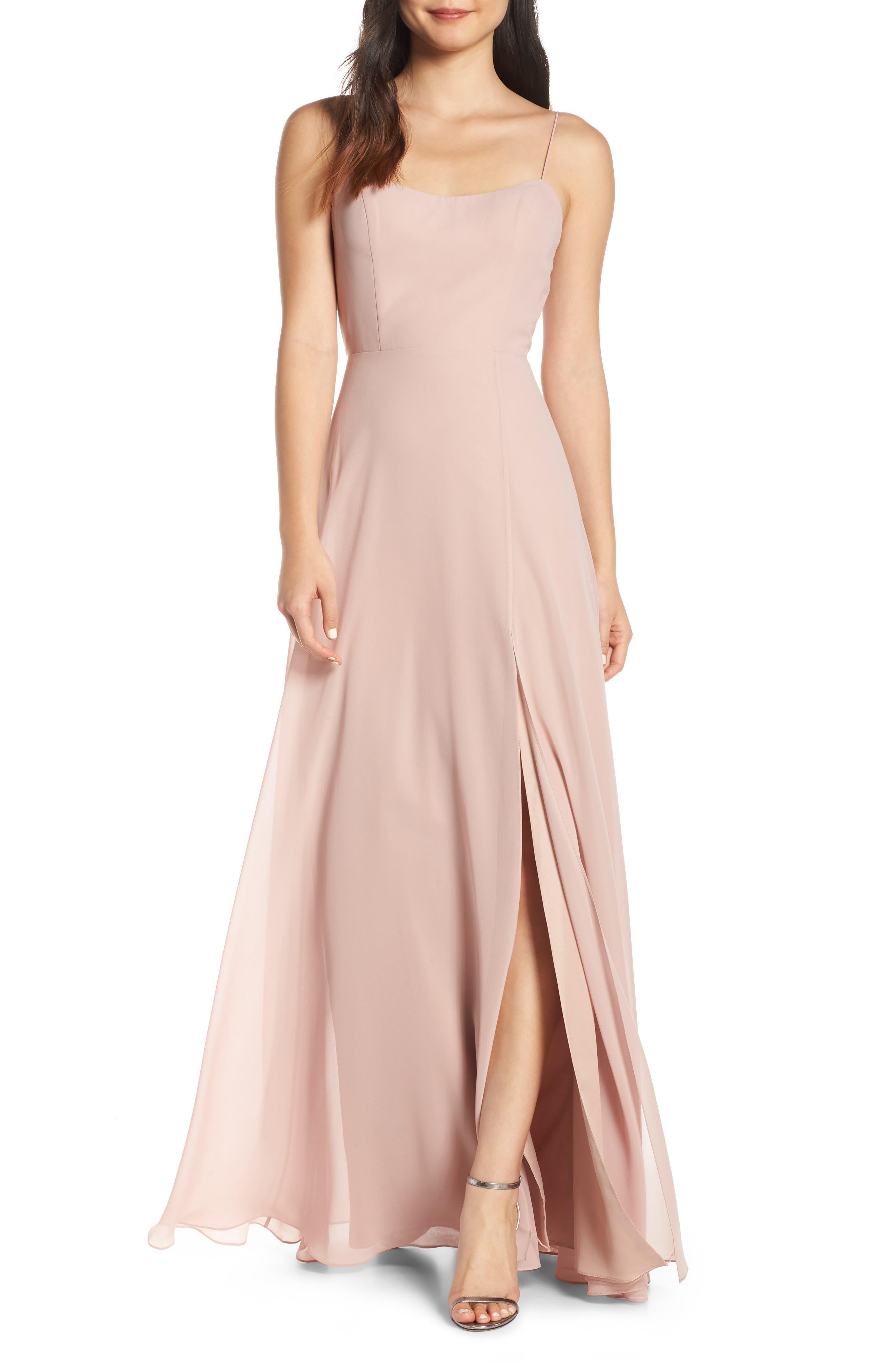 Jenny Yoo Kiara Bow Back Chiffon Evening Dress, Pink
