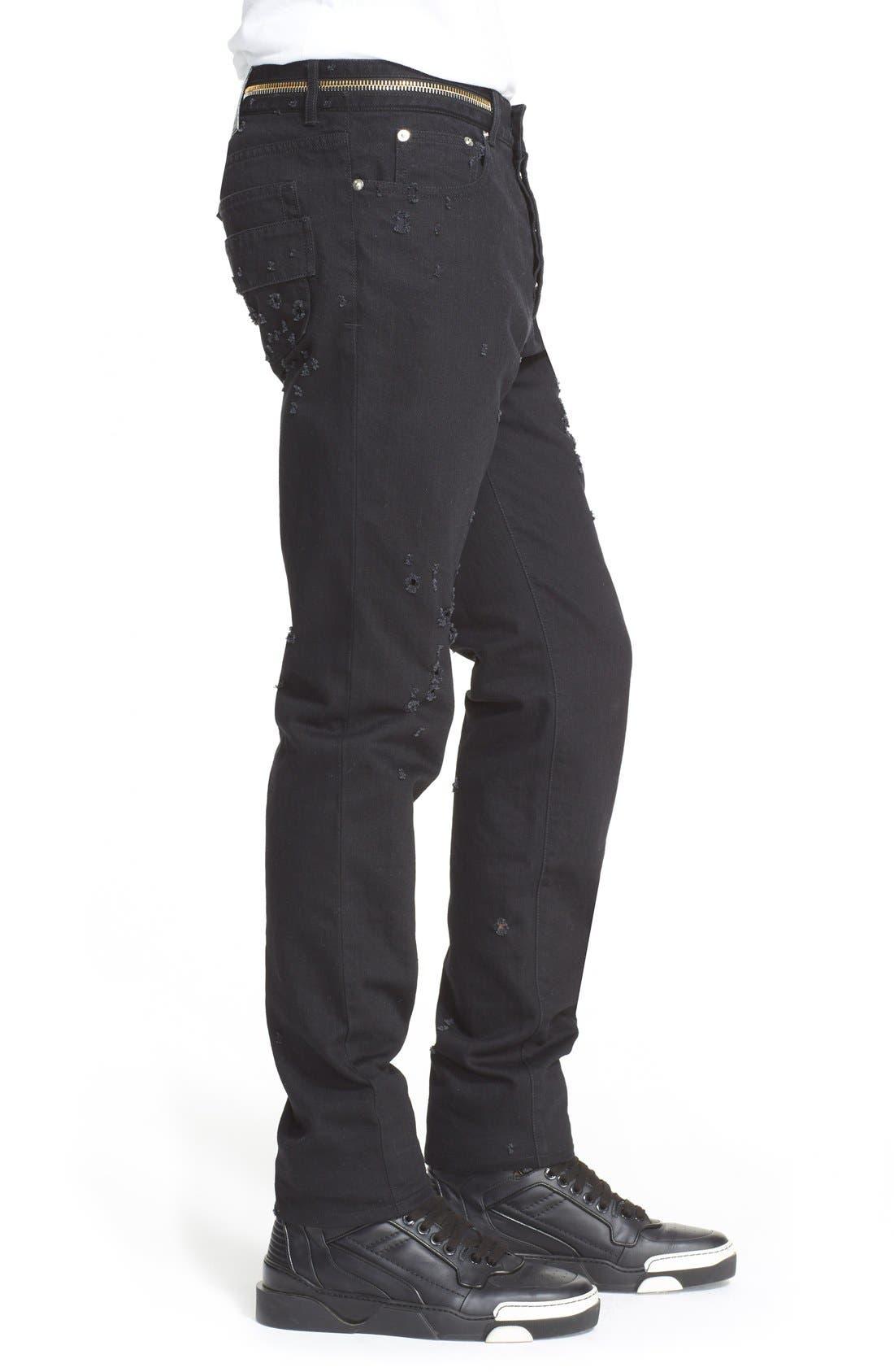 Cuban Fit Distressed Slim Straight Leg Jeans,                             Alternate thumbnail 5, color,                             001
