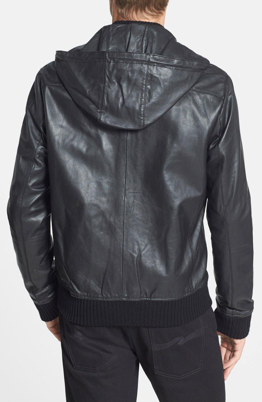 Hooded Leather Bomber Jacket,                             Alternate thumbnail 4, color,                             001