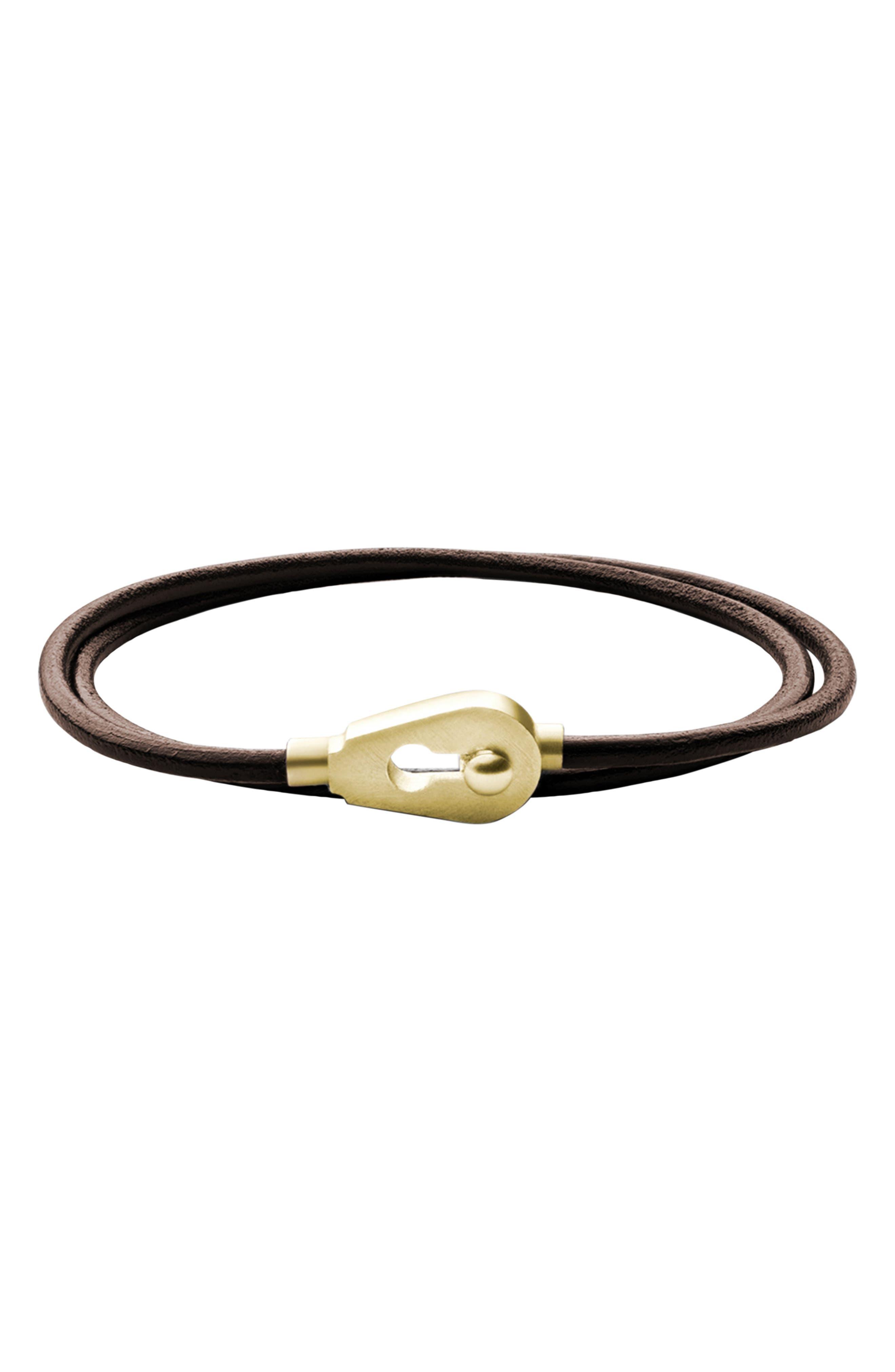 Centra Leather Wrap Bracelet,                             Main thumbnail 1, color,                             BROWN