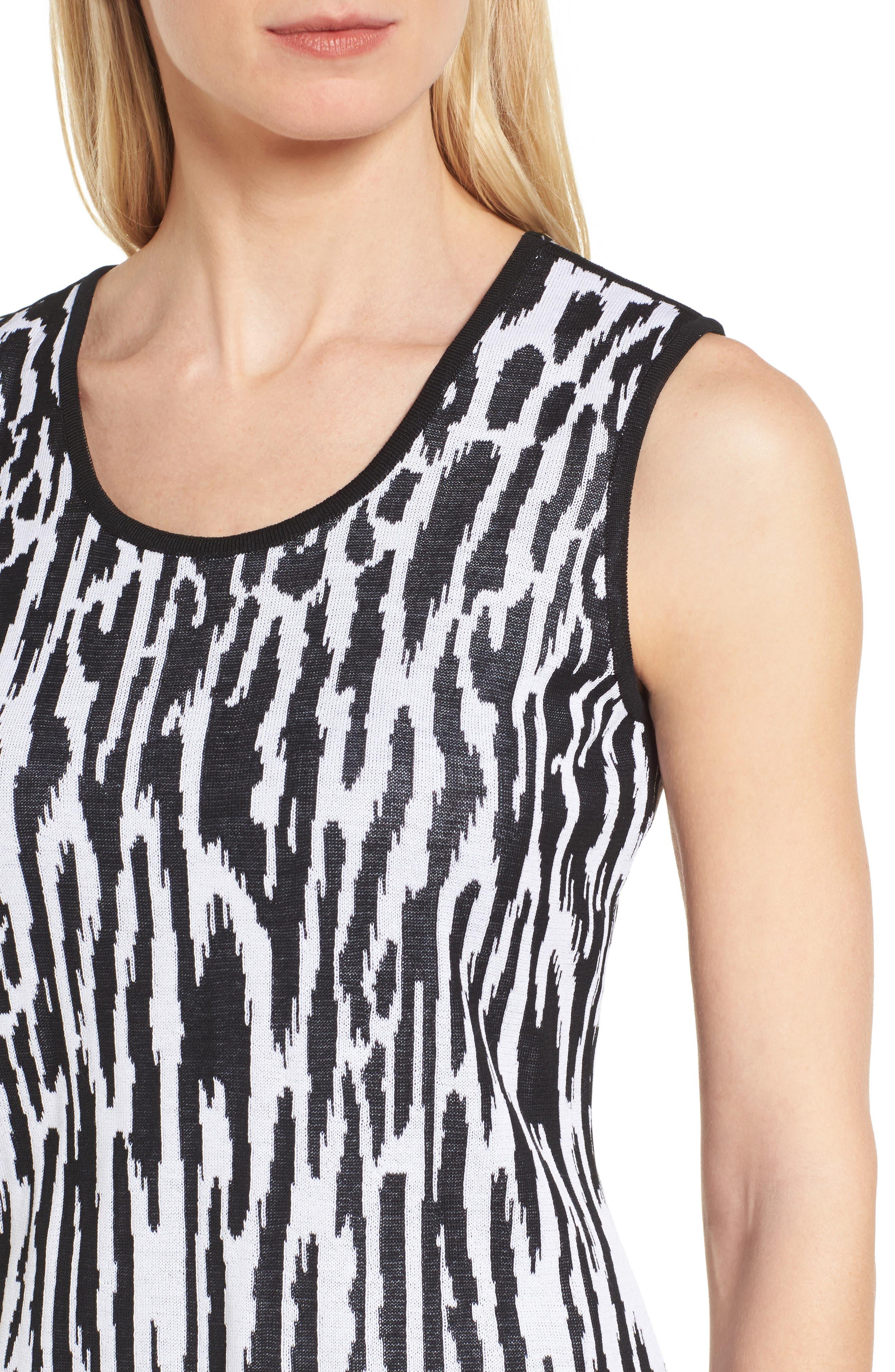Animal Pattern Knit Tank,                             Alternate thumbnail 4, color,                             BLACK/ WHITE