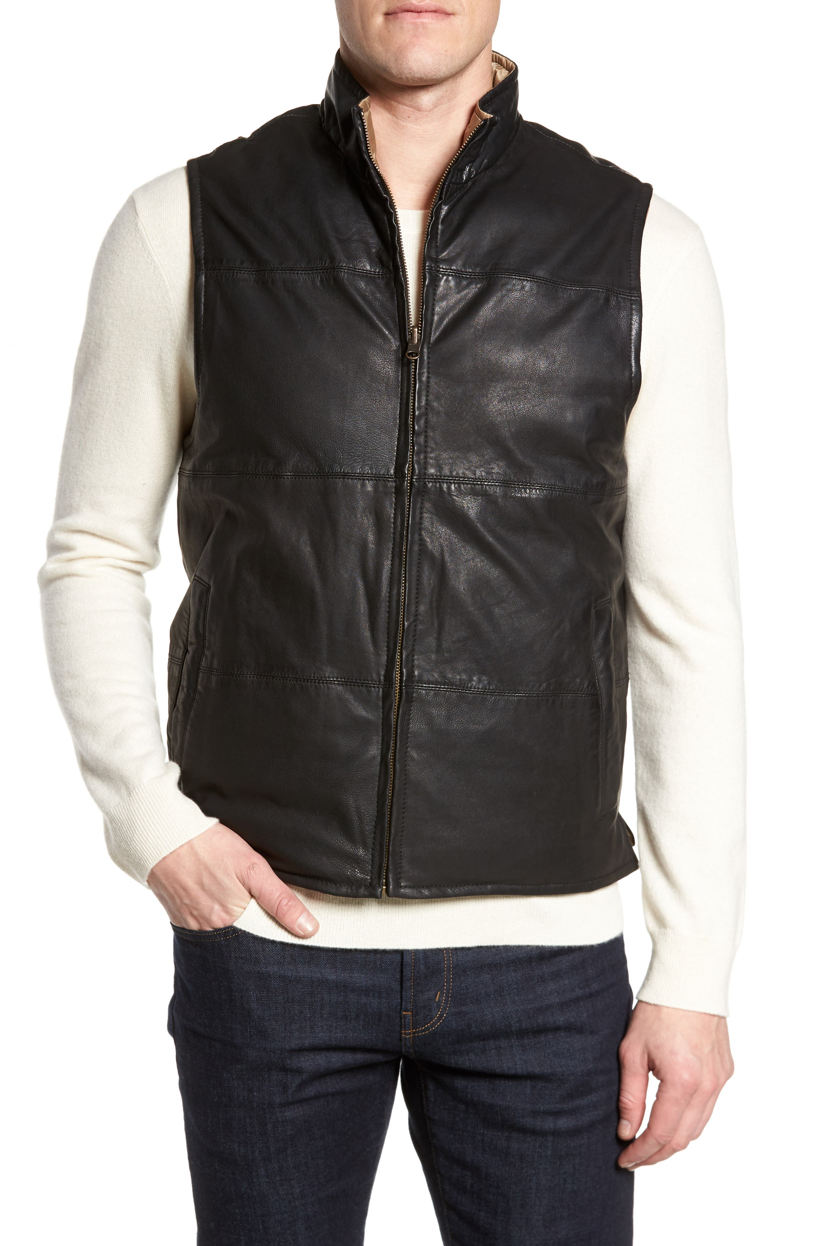 Reversible Leather Puffer Vest,                         Main,                         color, 001