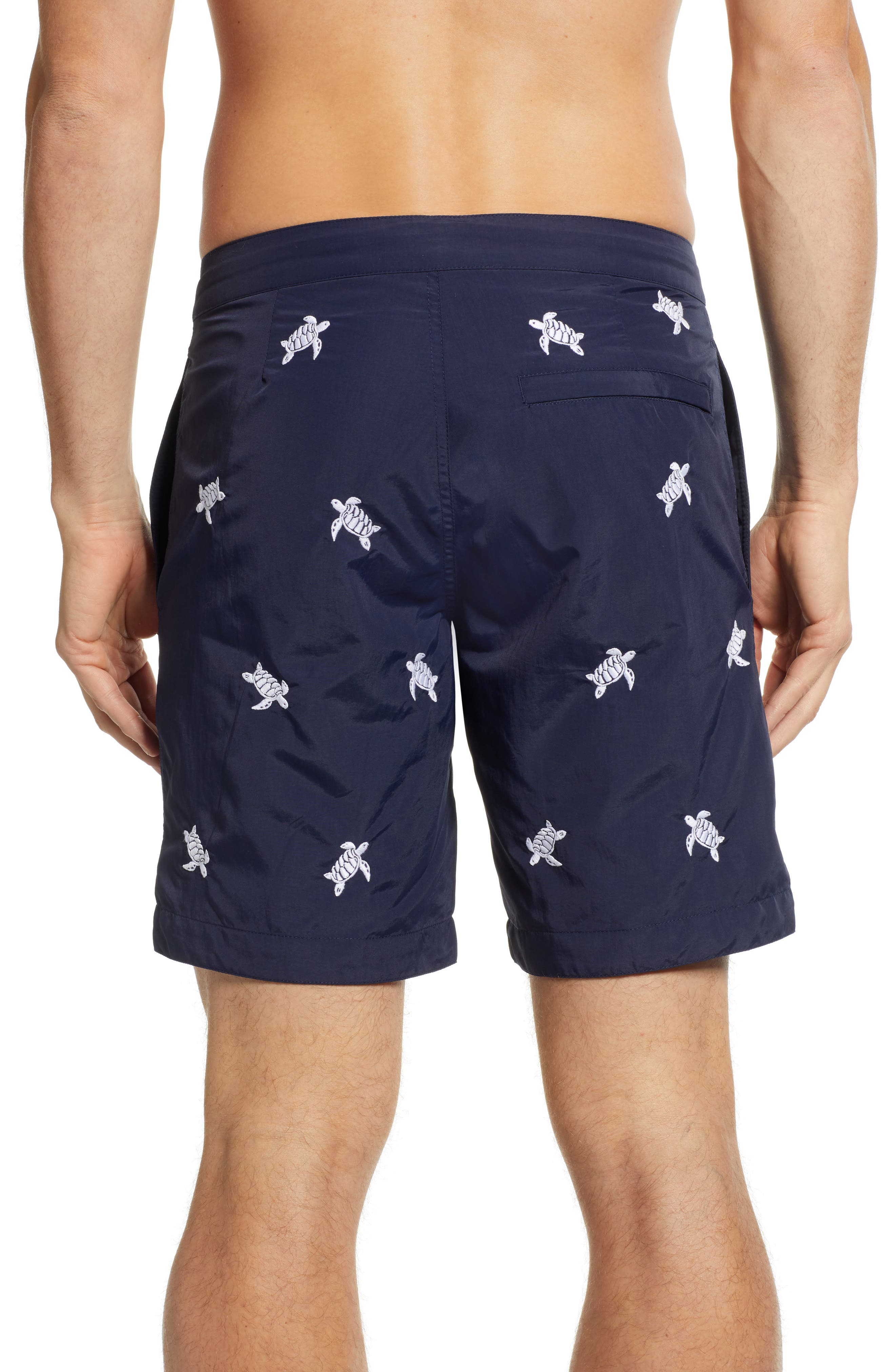 Aruba Embroidered 8.5 Inch Swim Trunks,                             Alternate thumbnail 2, color,                             NAVY EMBROIDERED TURTLES