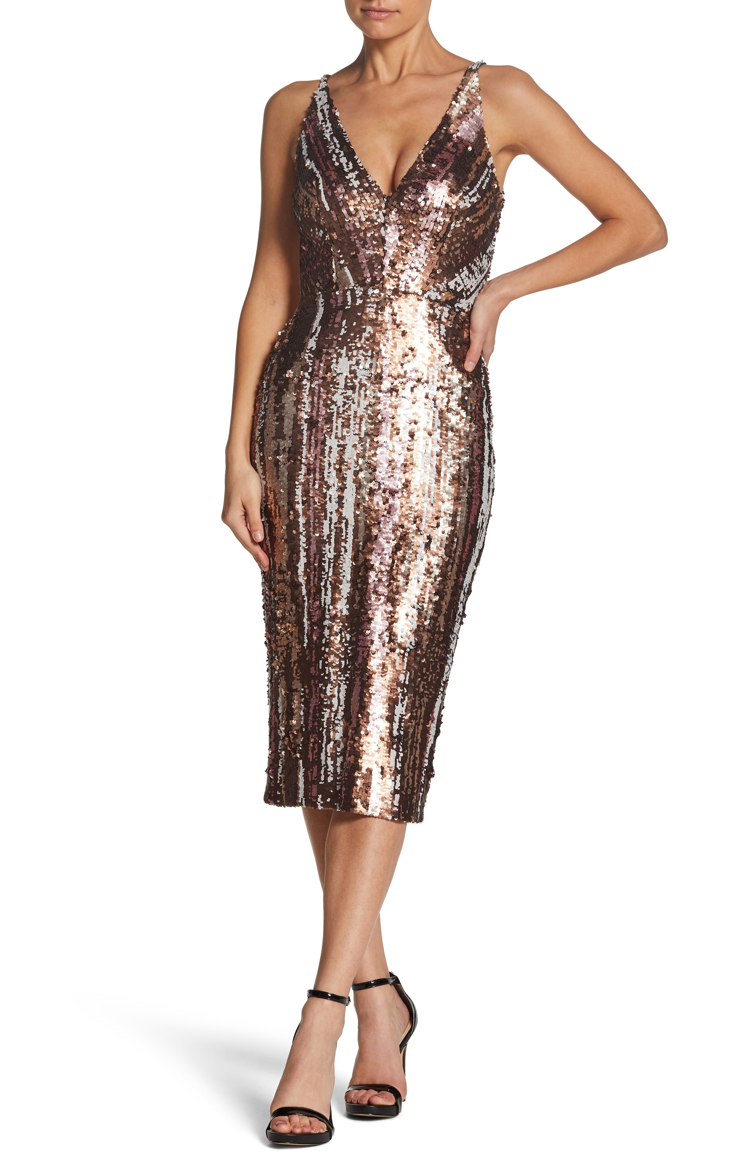 Margo Plunge Neck Sequin Dress,                             Main thumbnail 1, color,                             MATTE BRONZE MULTI