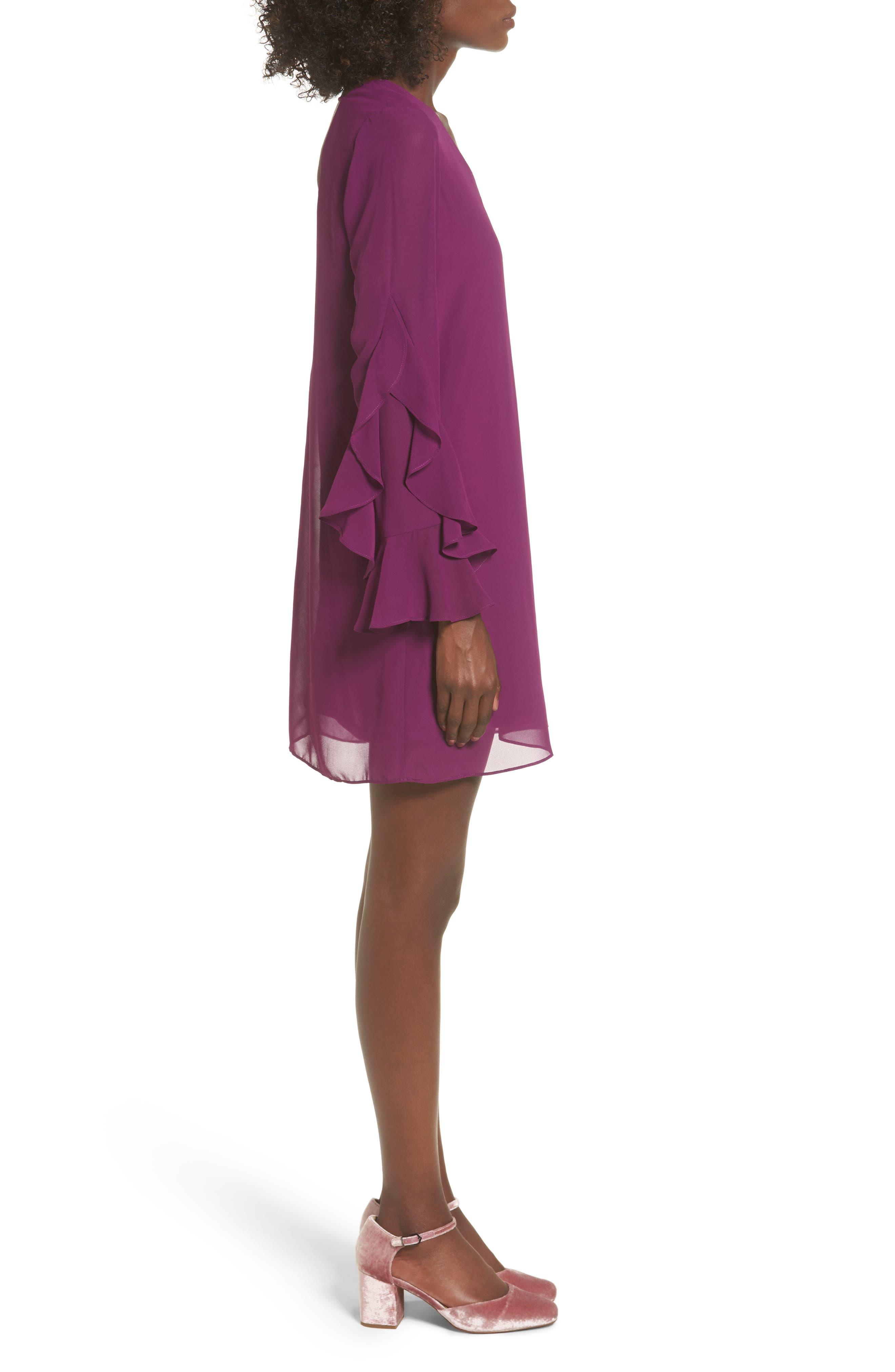 Ruffle Sleeve Shift Dress,                             Alternate thumbnail 12, color,