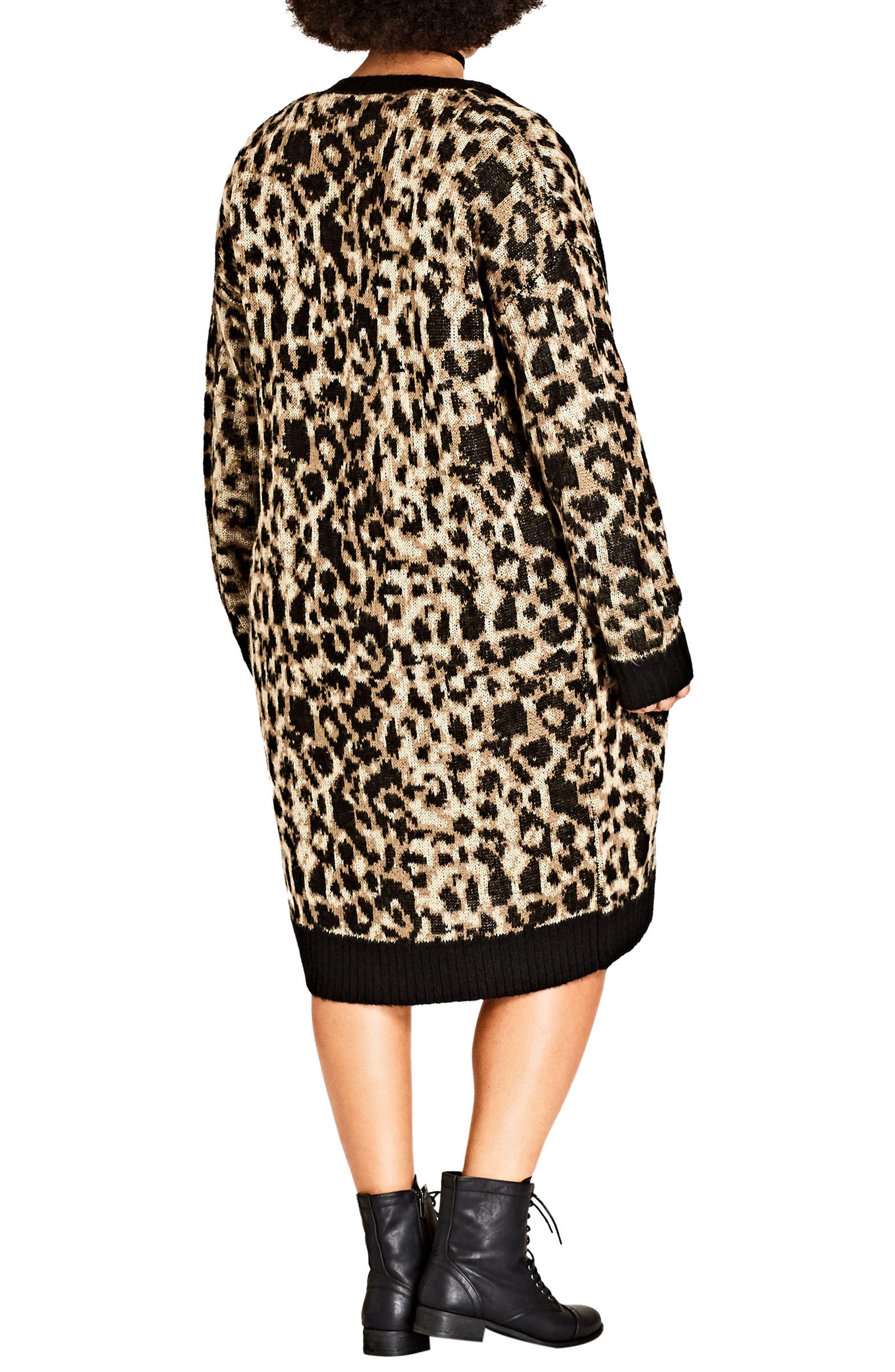 Leopard Print Long Cardigan,                             Alternate thumbnail 2, color,                             001