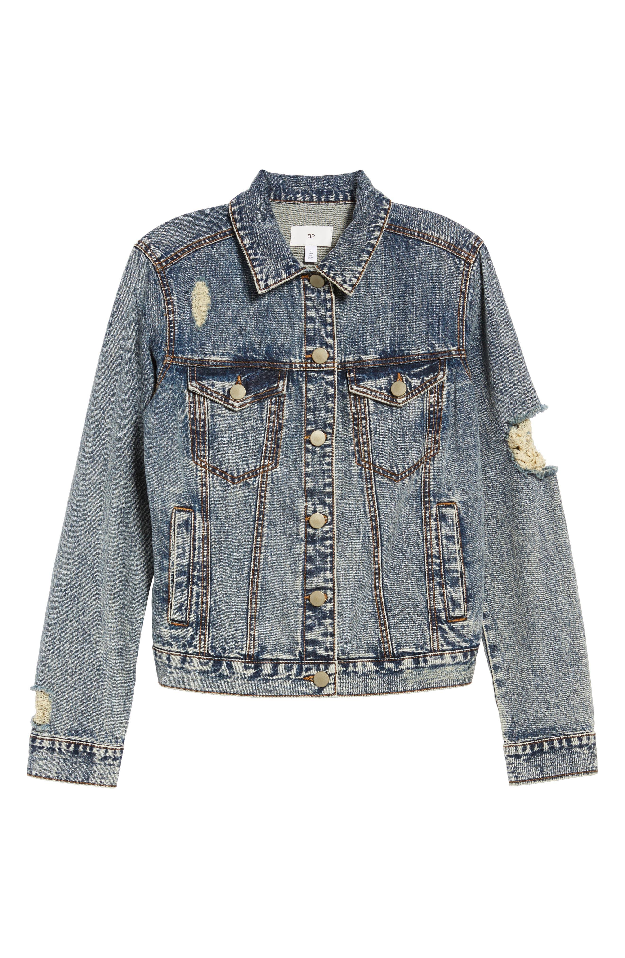 Bossy Embellished Denim Jacket,                             Alternate thumbnail 5, color,                             420