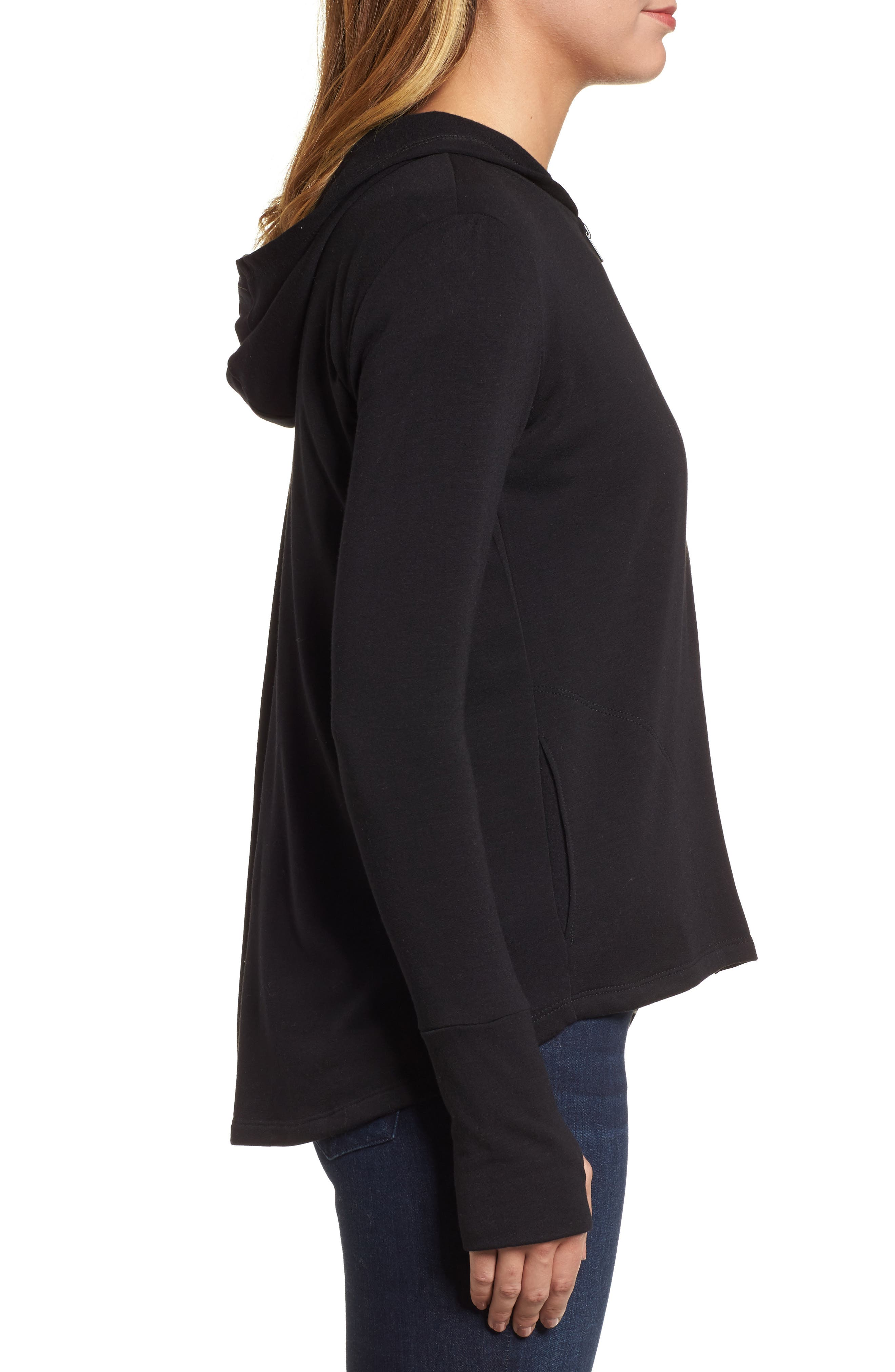 Off-Duty Zip Front Hooded Jacket,                             Alternate thumbnail 3, color,                             001