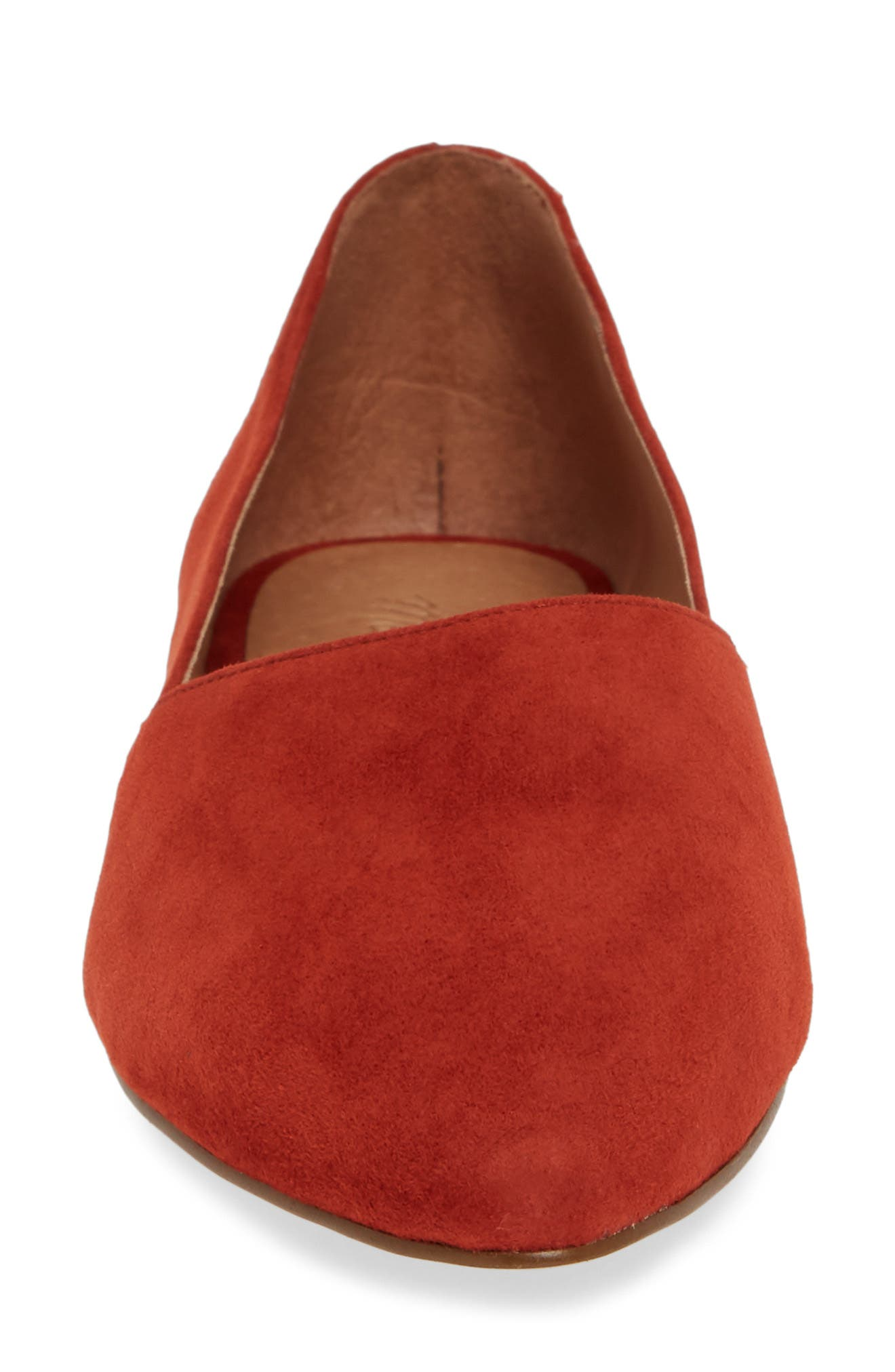 Lizbeth Pointy Toe Flat,                             Alternate thumbnail 4, color,                             DARK CINNABAR