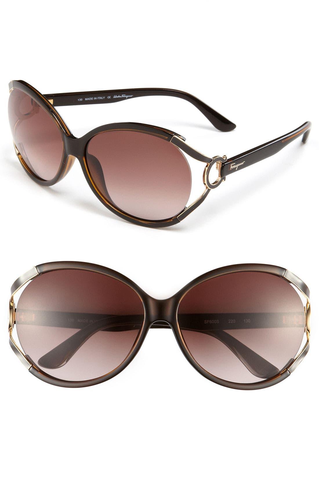59mm Oversized Sunglasses,                         Main,                         color, DARK BROWN/ BROWN GRADIENT