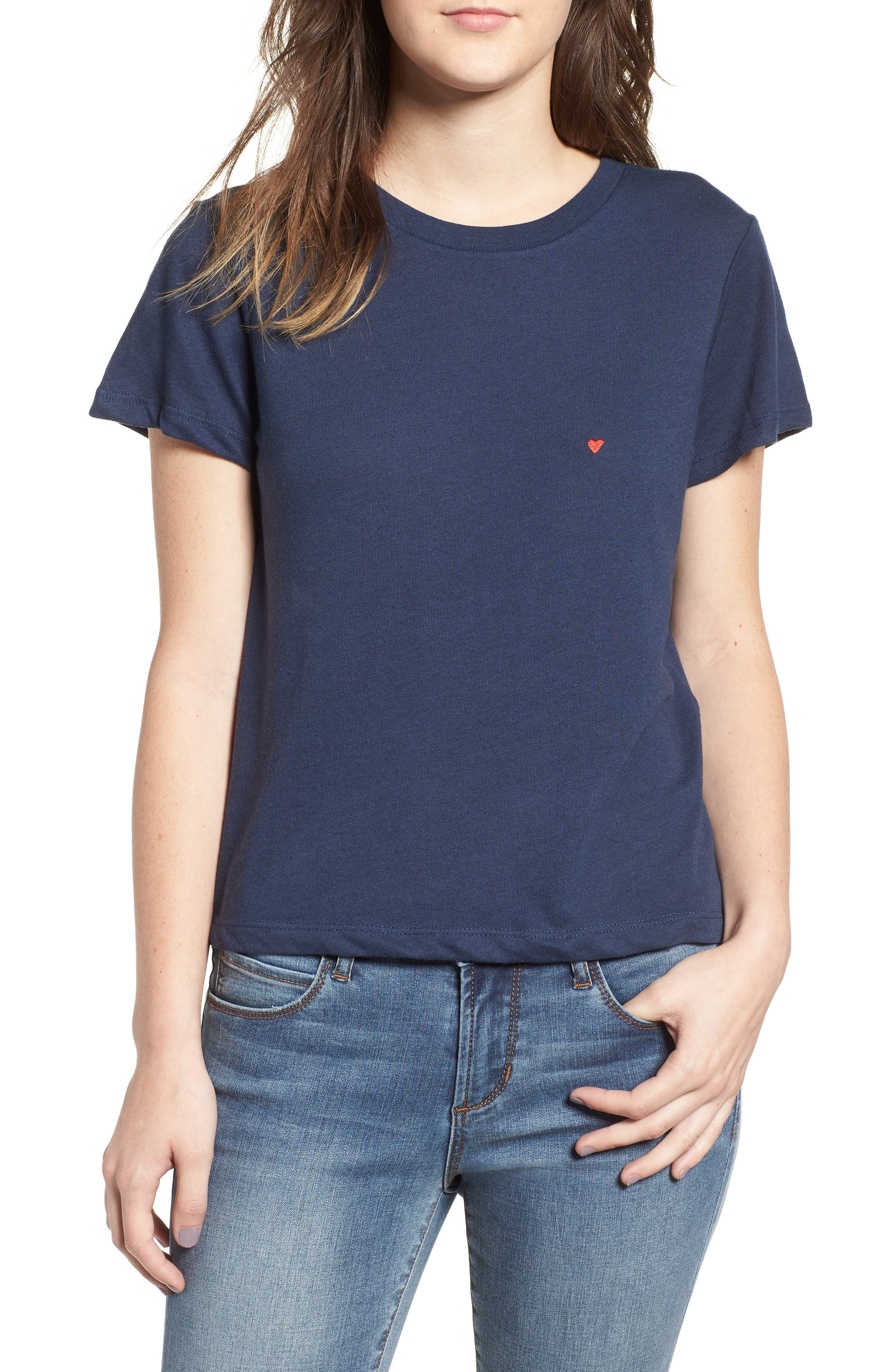 Embroidered Heart Tee,                             Main thumbnail 2, color,