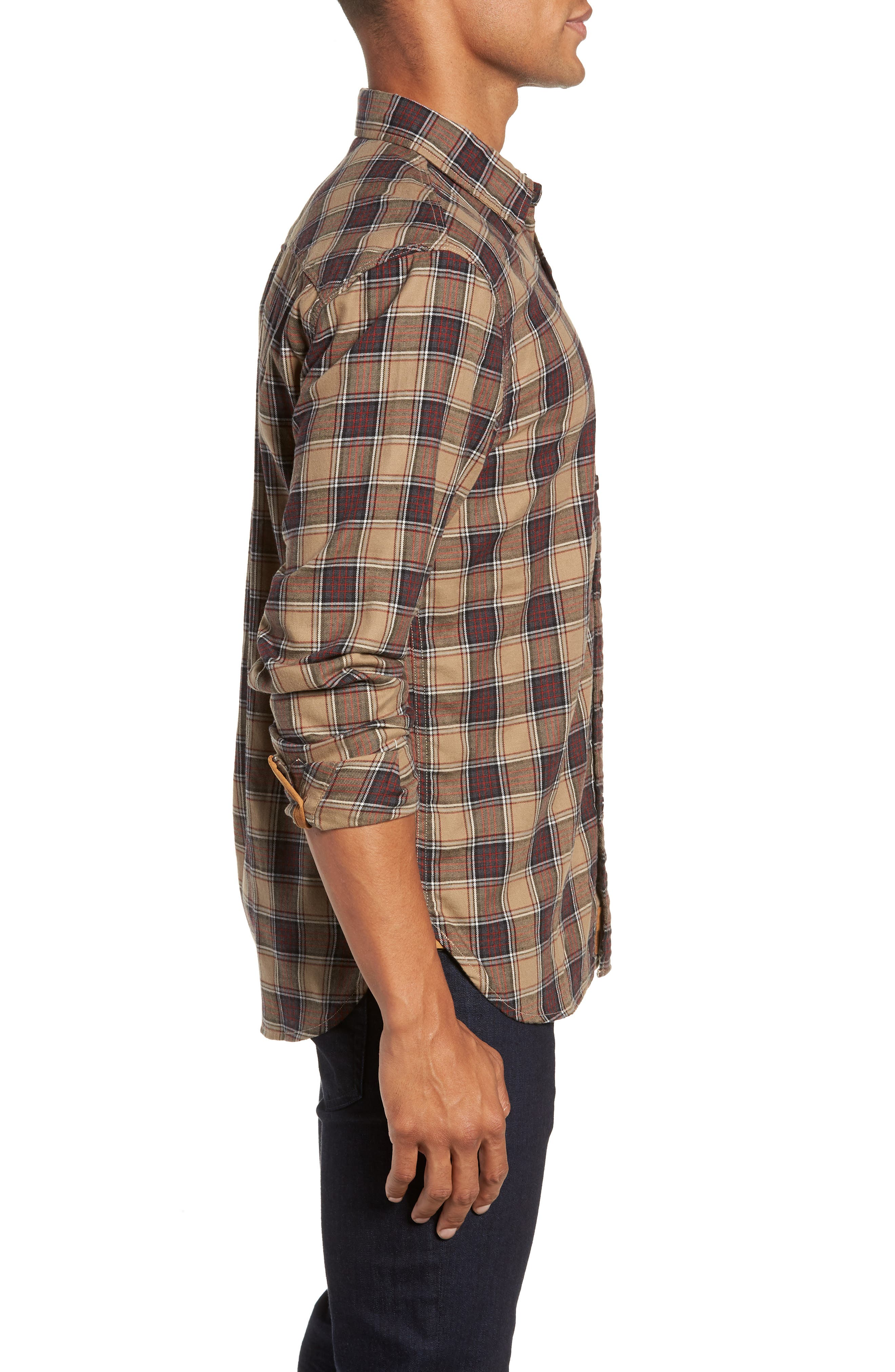 Truman Check Sport Shirt,                             Alternate thumbnail 4, color,                             GREY/ GOLD/ RED
