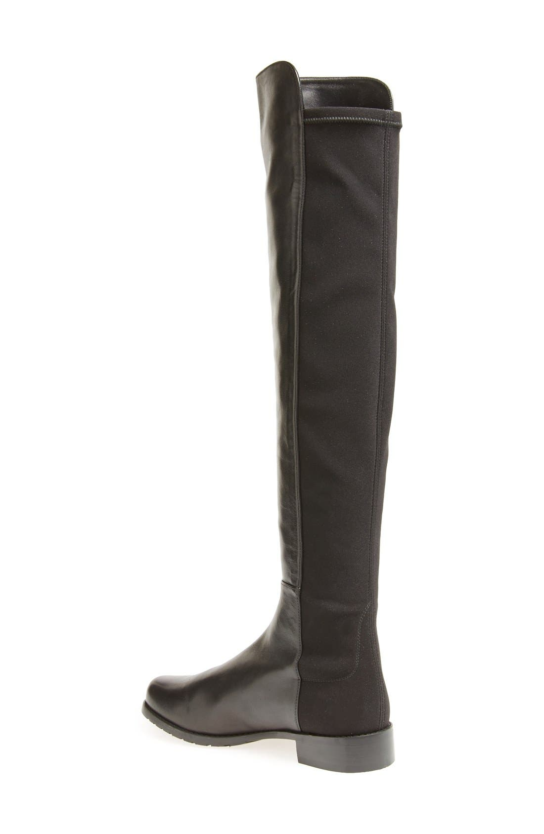 5050 Over the Knee Leather Boot,                             Alternate thumbnail 3, color,                             BLACK NAPPA